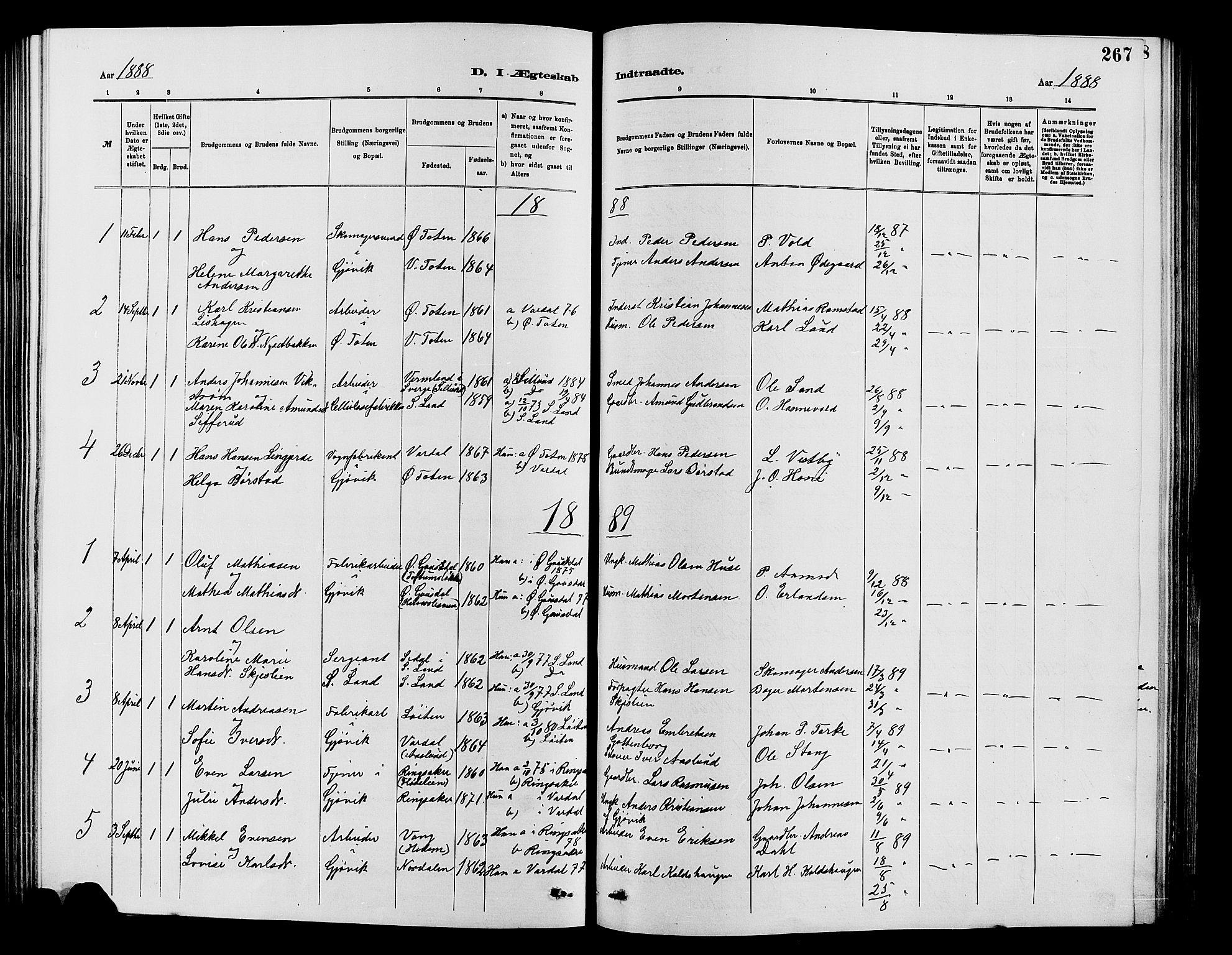 SAH, Vardal prestekontor, H/Ha/Hab/L0007: Klokkerbok nr. 7 /2, 1881-1895, s. 267