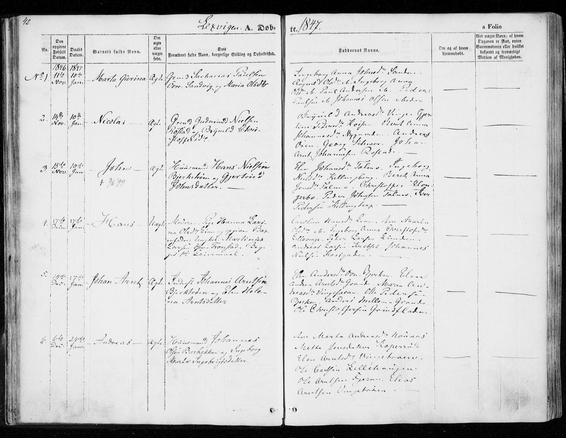 SAT, Ministerialprotokoller, klokkerbøker og fødselsregistre - Nord-Trøndelag, 701/L0007: Ministerialbok nr. 701A07 /1, 1842-1854, s. 42