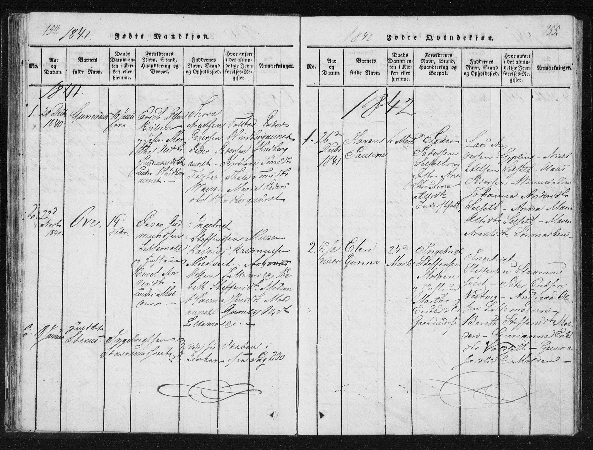 SAT, Ministerialprotokoller, klokkerbøker og fødselsregistre - Nord-Trøndelag, 744/L0417: Ministerialbok nr. 744A01, 1817-1842, s. 154-155