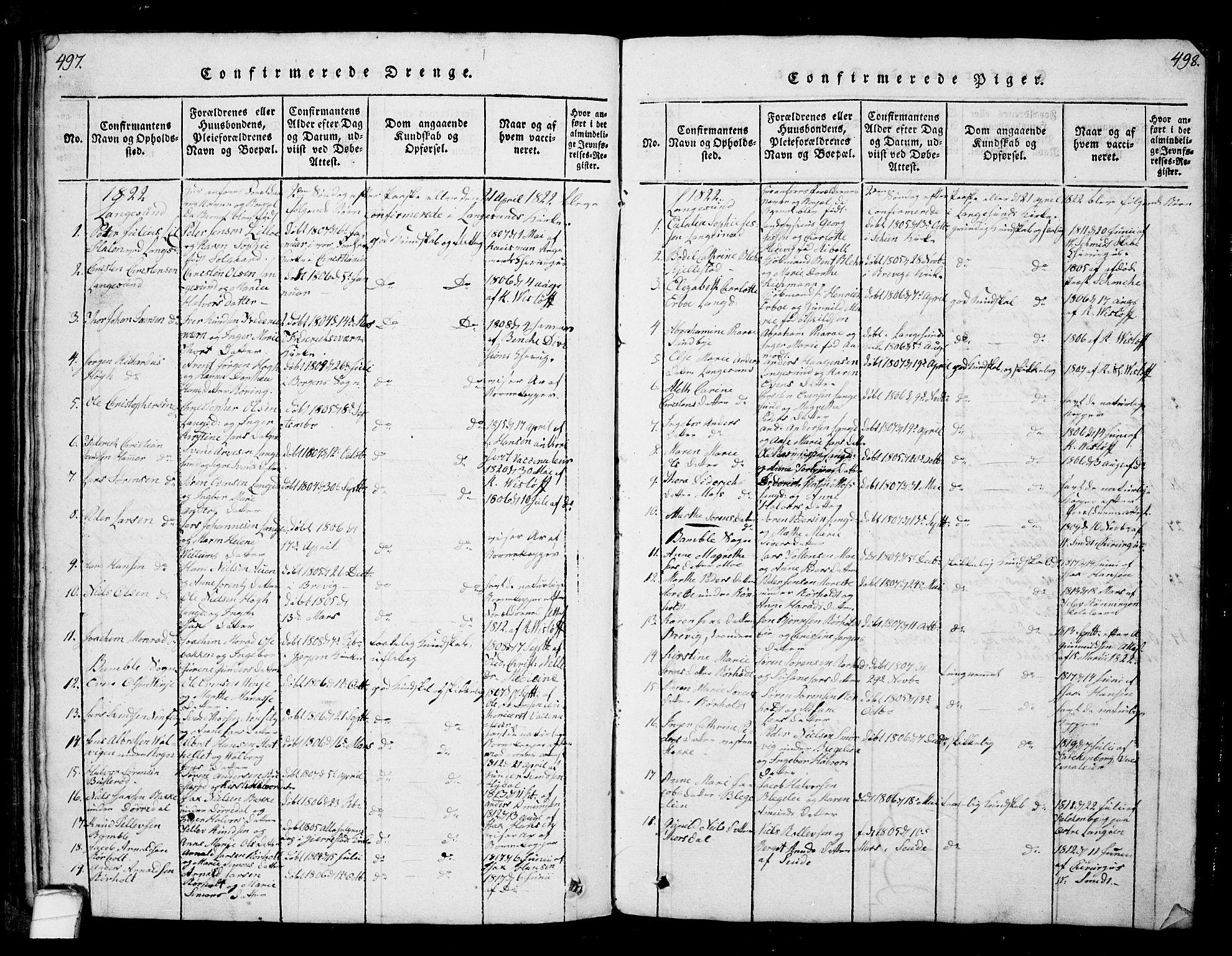 SAKO, Bamble kirkebøker, G/Ga/L0005: Klokkerbok nr. I 5, 1814-1855, s. 497-498