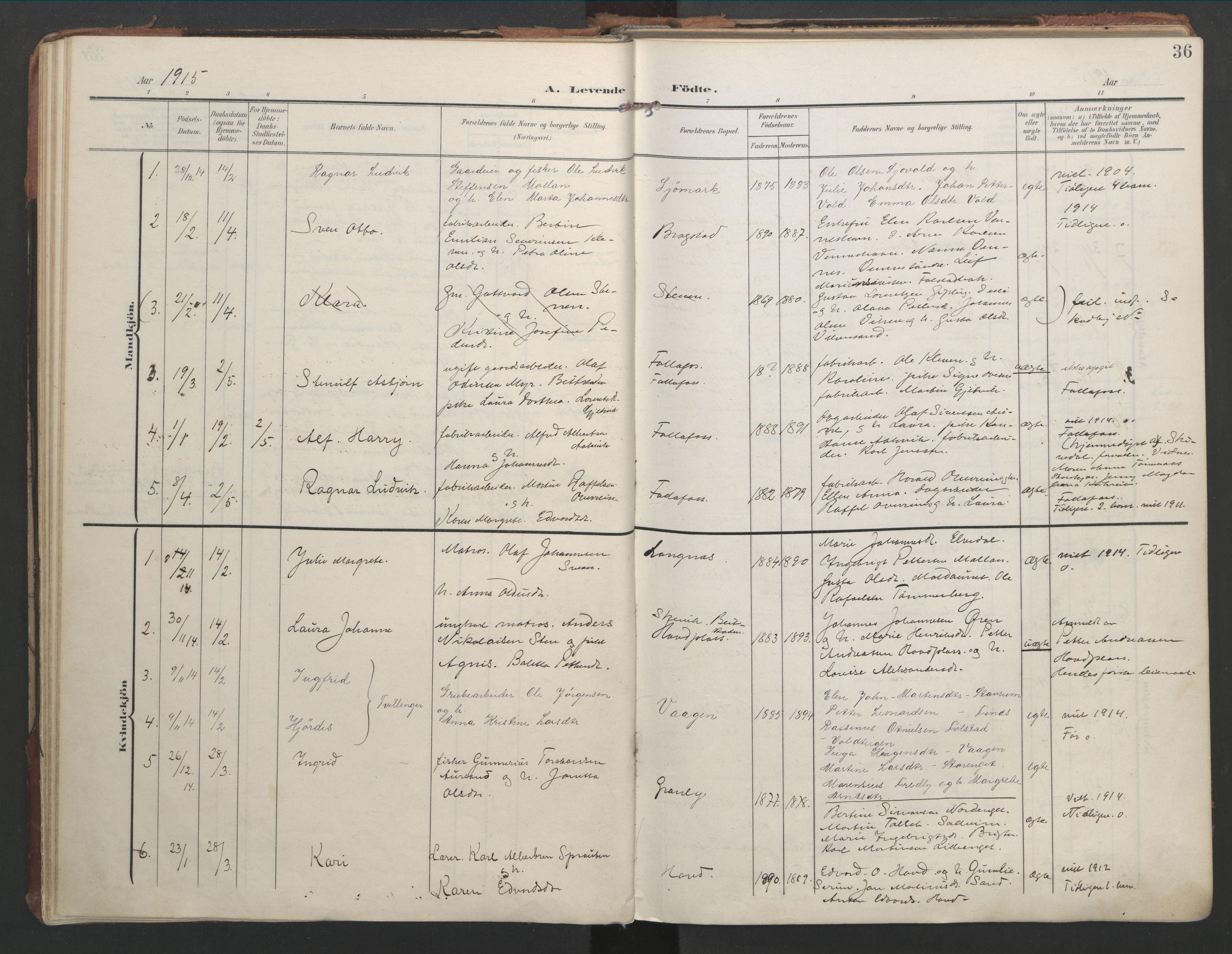 SAT, Ministerialprotokoller, klokkerbøker og fødselsregistre - Nord-Trøndelag, 744/L0421: Ministerialbok nr. 744A05, 1905-1930, s. 36