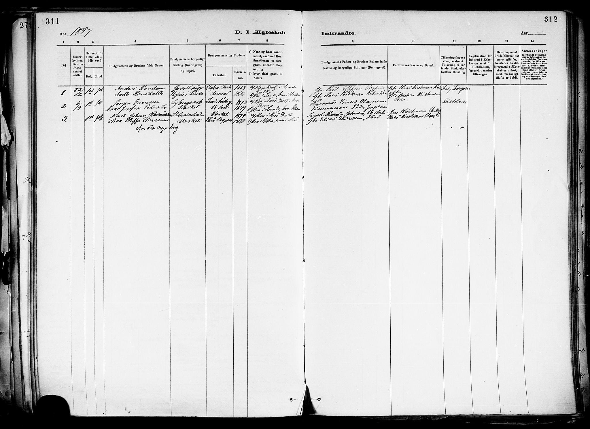 SAKO, Holla kirkebøker, F/Fa/L0008: Ministerialbok nr. 8, 1882-1897, s. 311