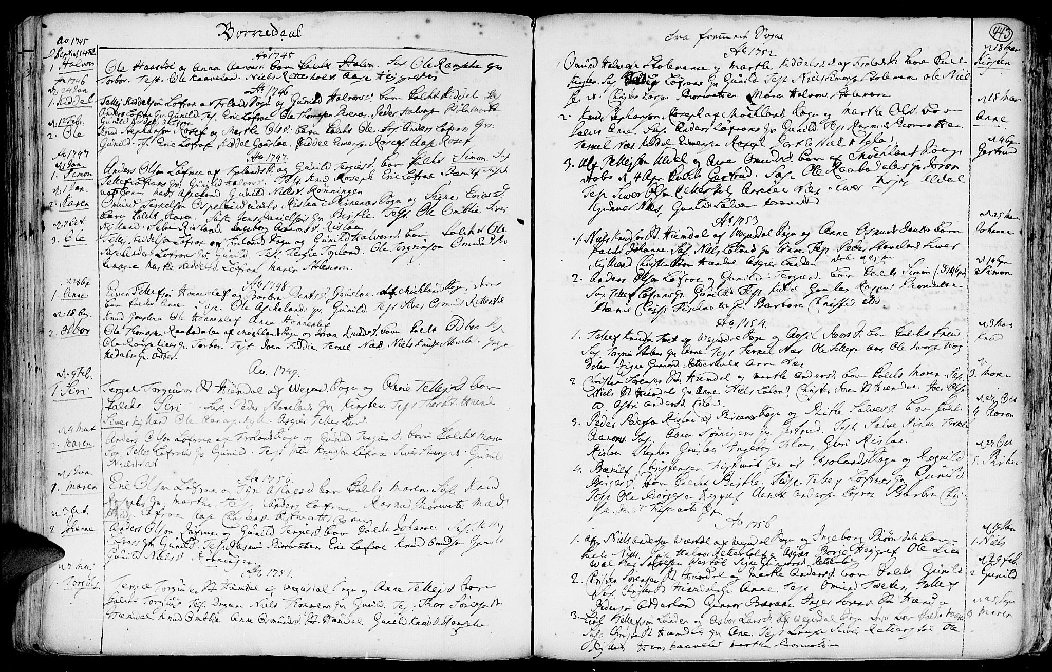 SAK, Hommedal sokneprestkontor, F/Fa/Fab/L0002: Ministerialbok nr. A 2 /3, 1740-1821, s. 443