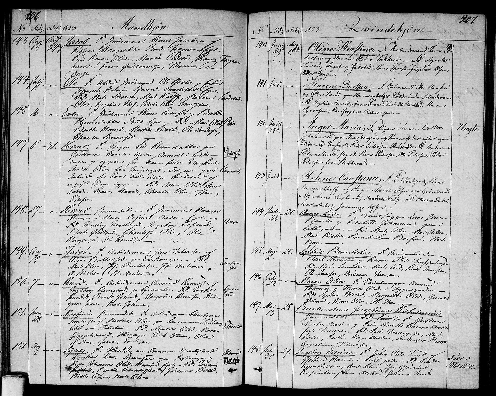 SAO, Aker prestekontor kirkebøker, F/L0012: Ministerialbok nr. 12, 1819-1828, s. 206-207