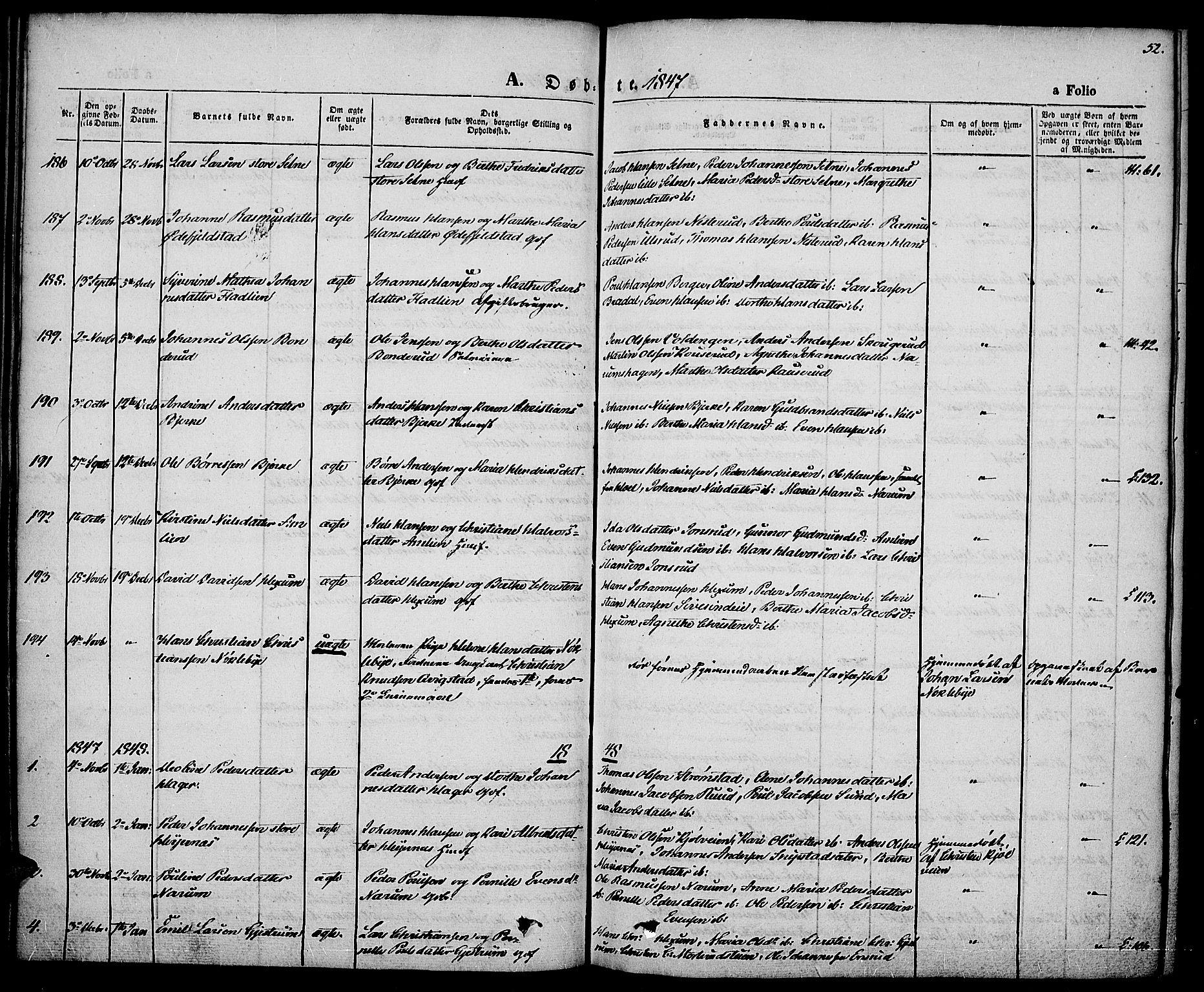 SAH, Vestre Toten prestekontor, Ministerialbok nr. 4, 1844-1849, s. 52