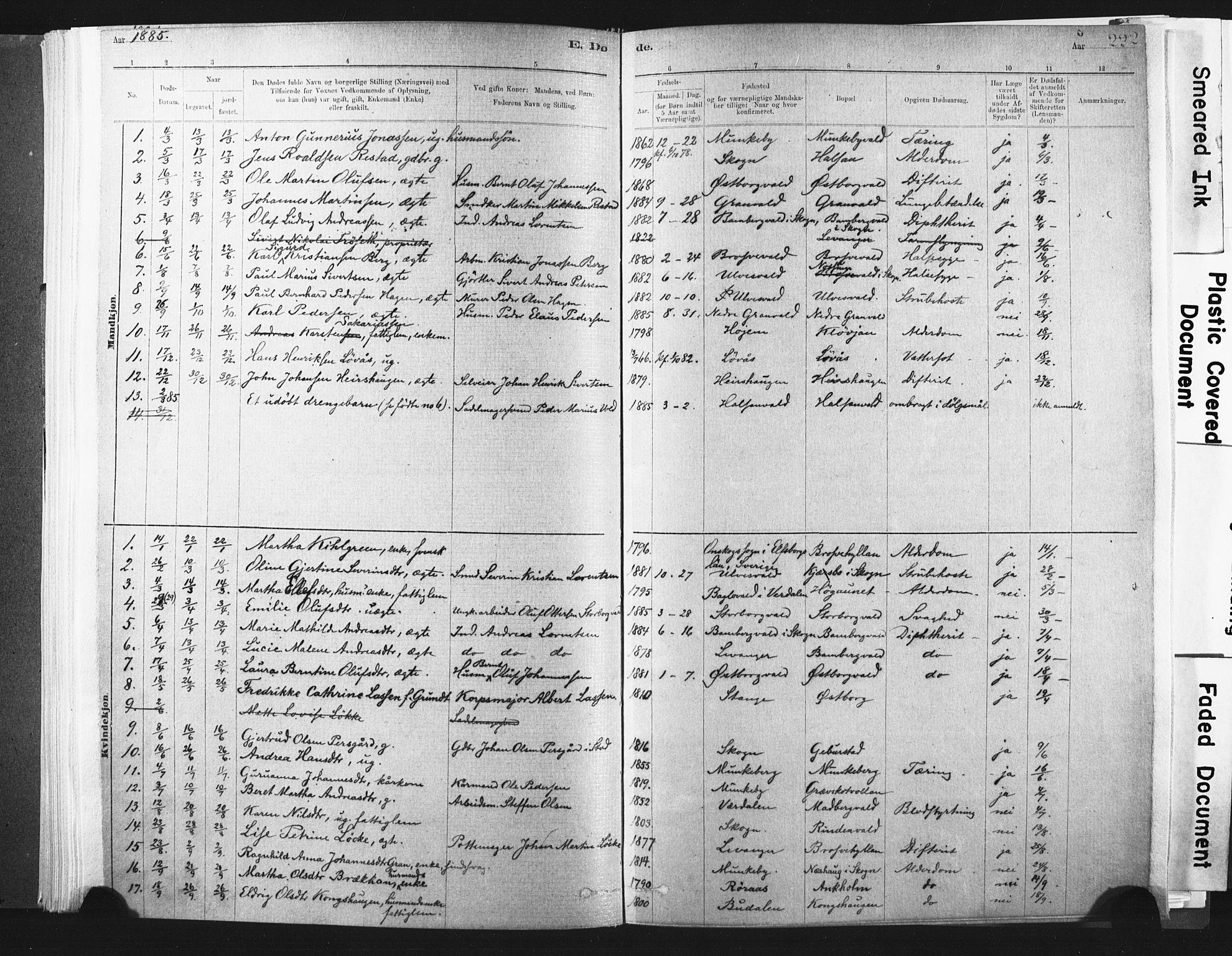 SAT, Ministerialprotokoller, klokkerbøker og fødselsregistre - Nord-Trøndelag, 721/L0207: Ministerialbok nr. 721A02, 1880-1911, s. 222