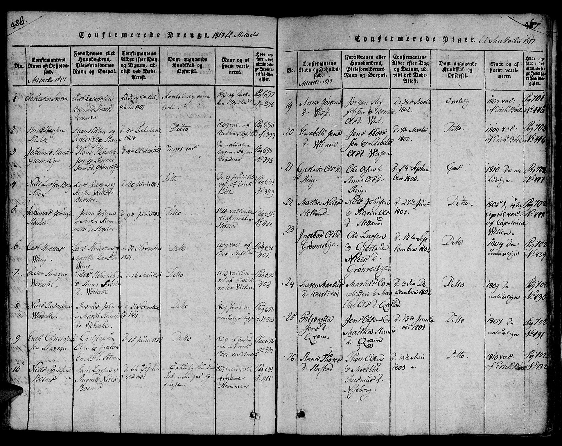 SAT, Ministerialprotokoller, klokkerbøker og fødselsregistre - Nord-Trøndelag, 730/L0275: Ministerialbok nr. 730A04, 1816-1822, s. 486-487