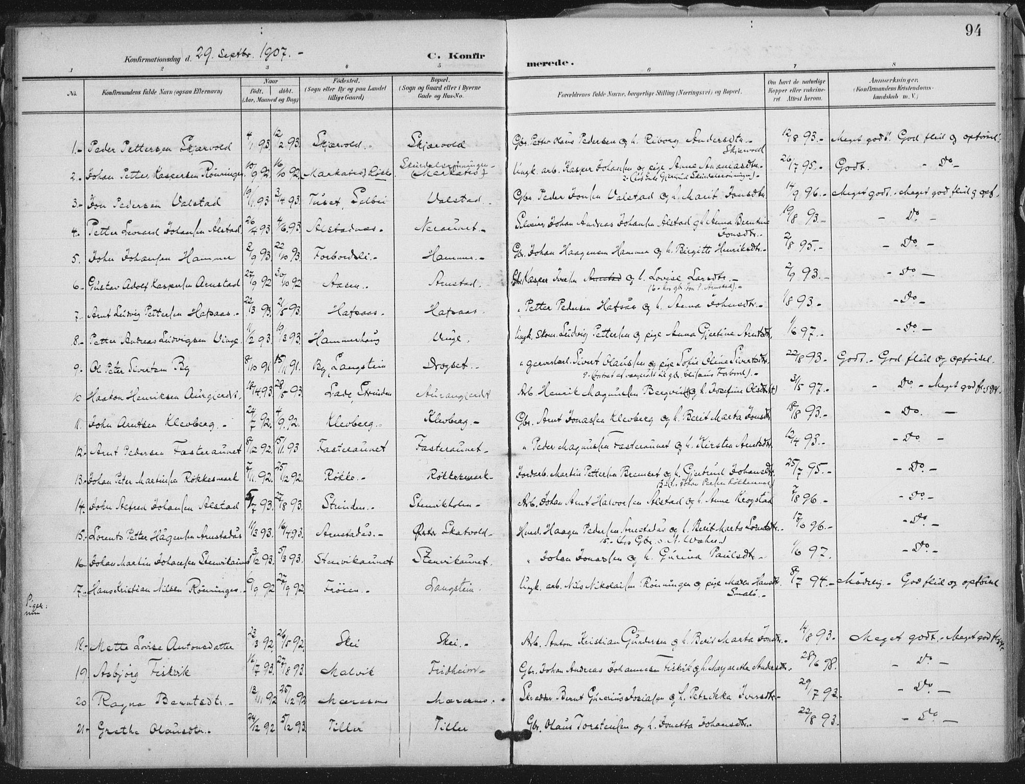 SAT, Ministerialprotokoller, klokkerbøker og fødselsregistre - Nord-Trøndelag, 712/L0101: Ministerialbok nr. 712A02, 1901-1916, s. 94