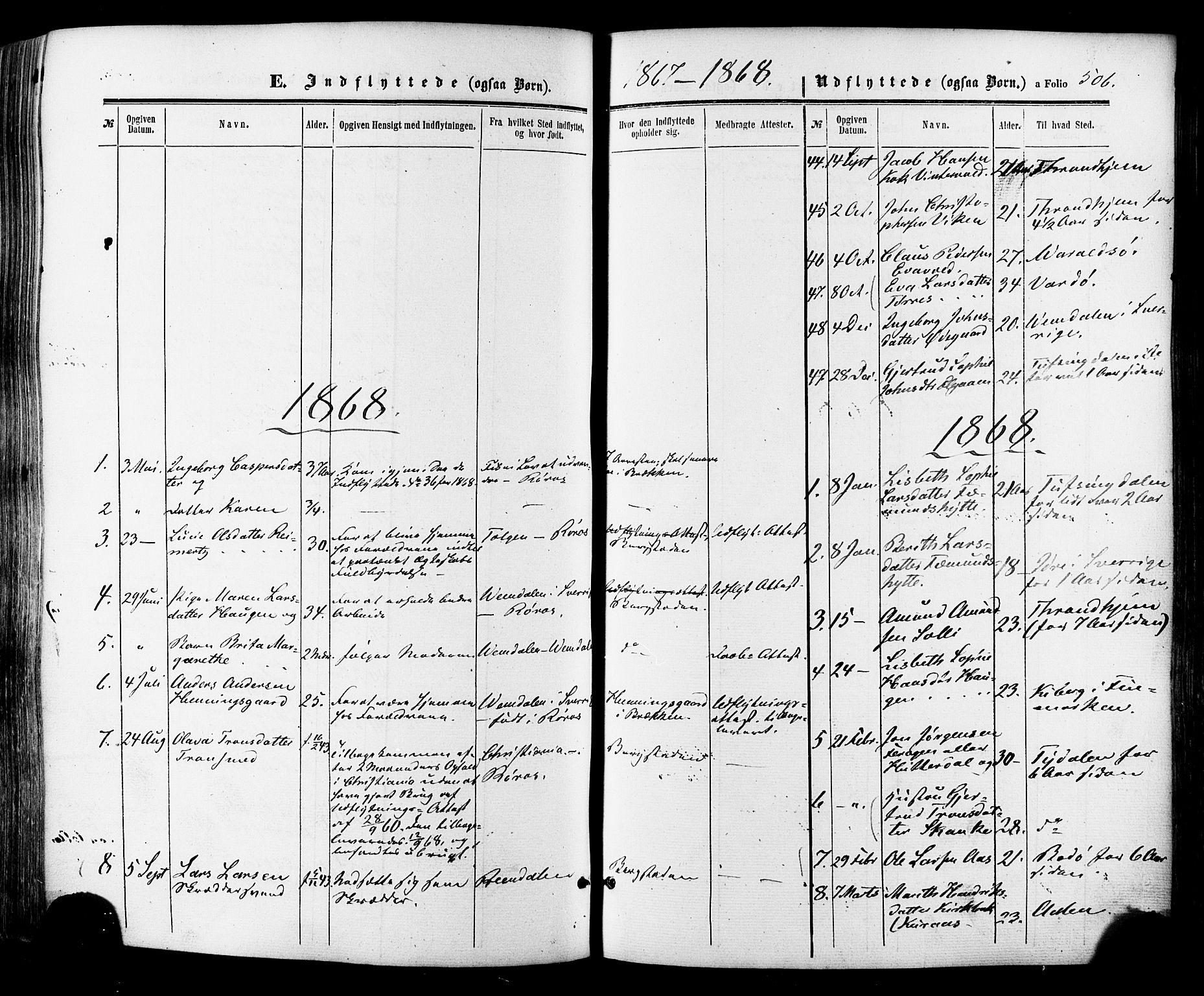 SAT, Ministerialprotokoller, klokkerbøker og fødselsregistre - Sør-Trøndelag, 681/L0932: Ministerialbok nr. 681A10, 1860-1878, s. 506
