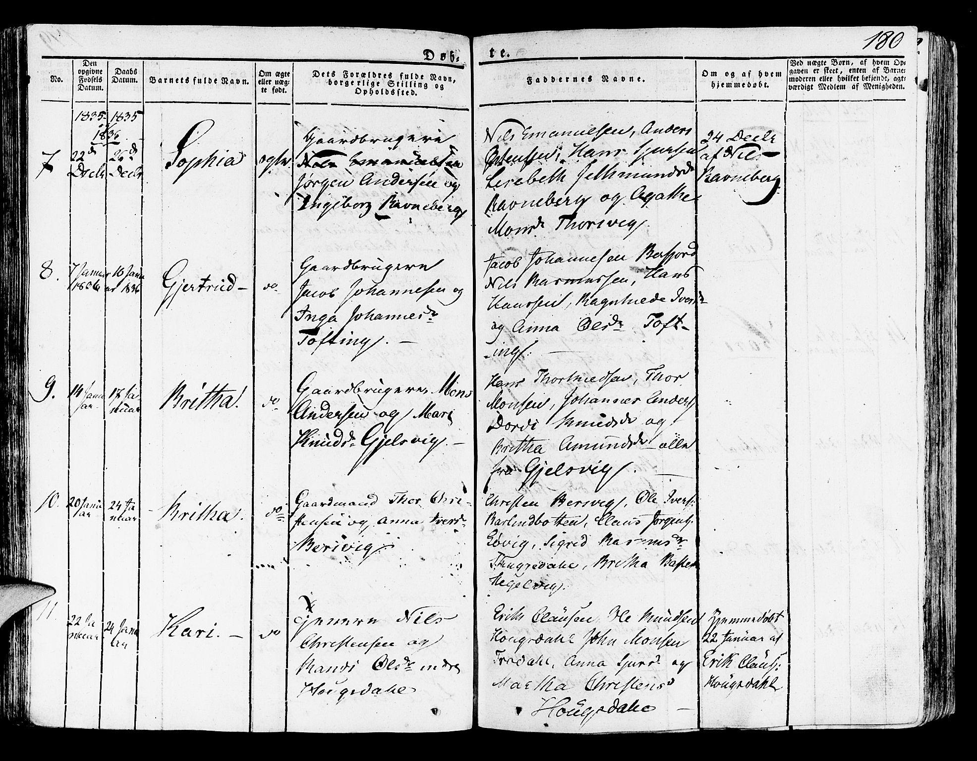 SAB, Lindås Sokneprestembete, H/Haa: Ministerialbok nr. A 8, 1823-1836, s. 180