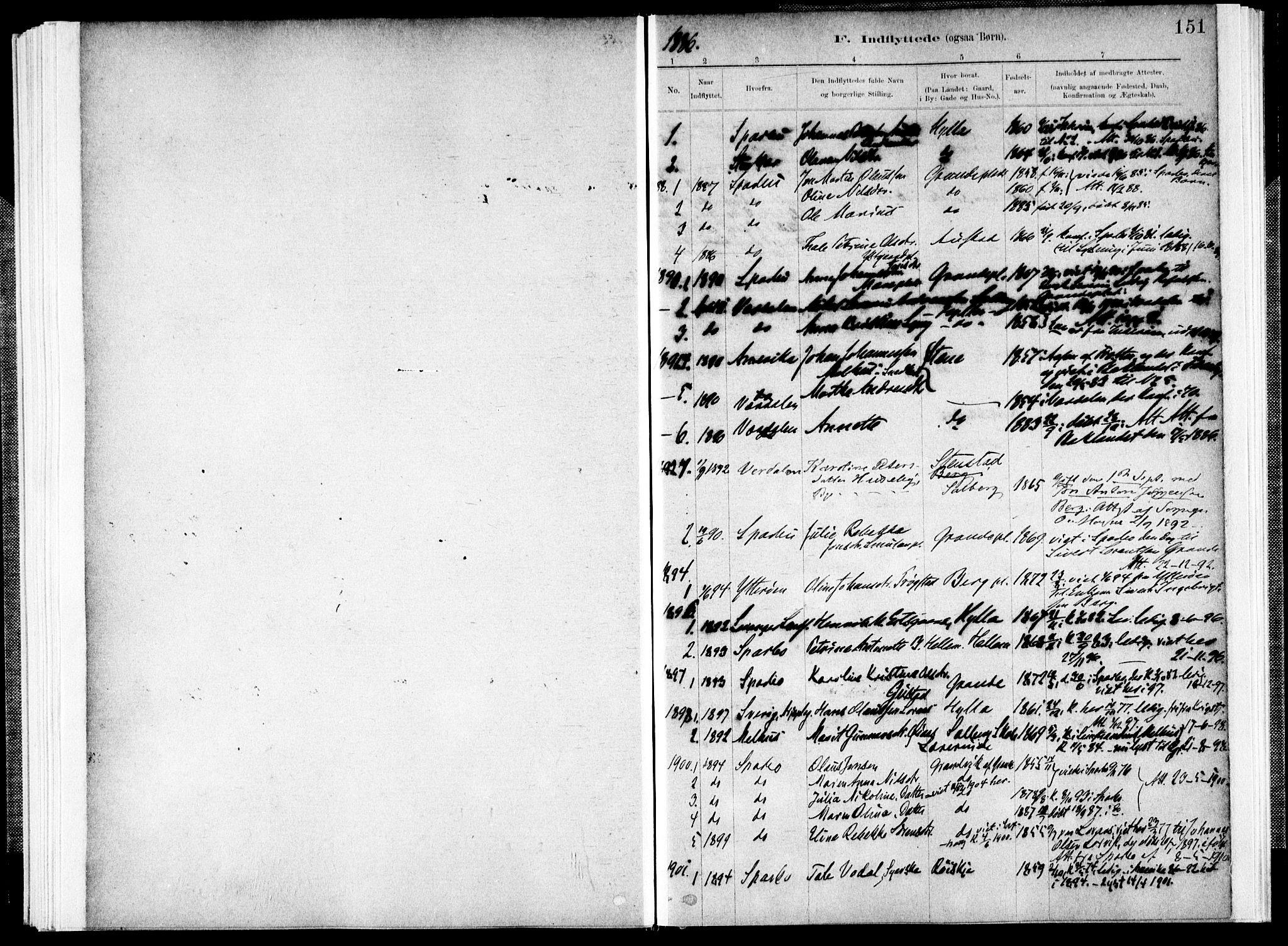 SAT, Ministerialprotokoller, klokkerbøker og fødselsregistre - Nord-Trøndelag, 731/L0309: Ministerialbok nr. 731A01, 1879-1918, s. 151