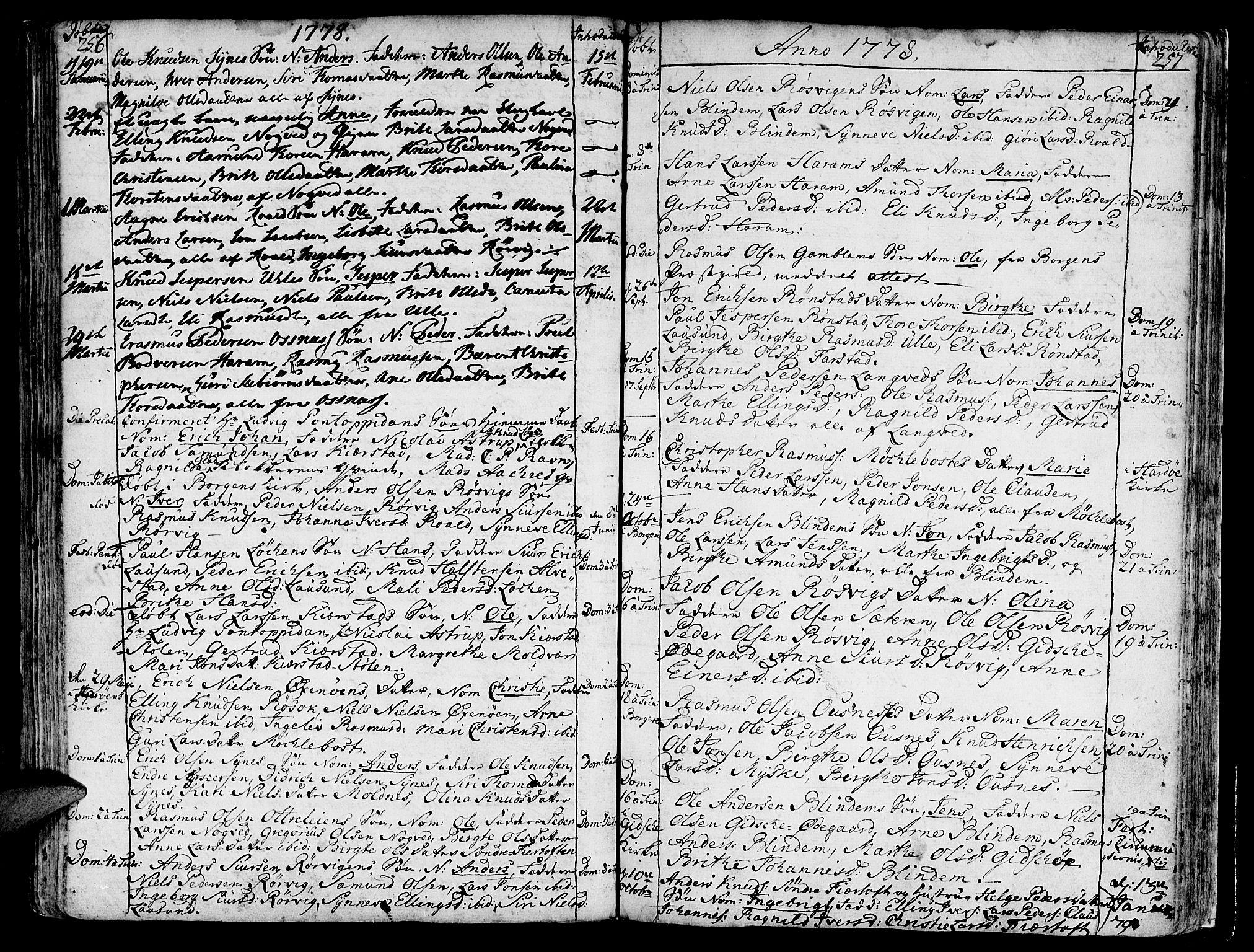 SAT, Ministerialprotokoller, klokkerbøker og fødselsregistre - Møre og Romsdal, 536/L0493: Ministerialbok nr. 536A02, 1739-1802, s. 256-257
