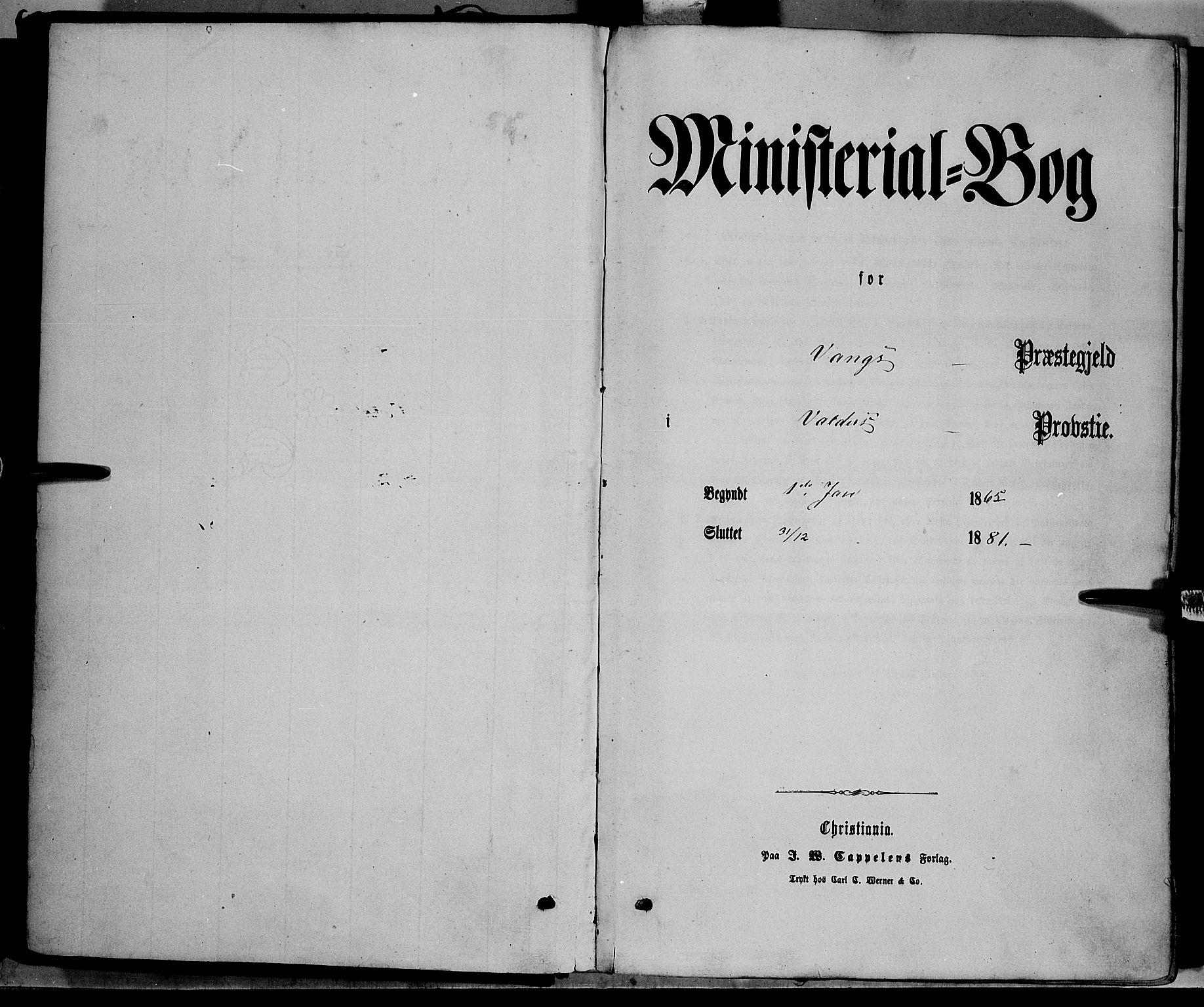 SAH, Vang prestekontor, Valdres, Ministerialbok nr. 7, 1865-1881