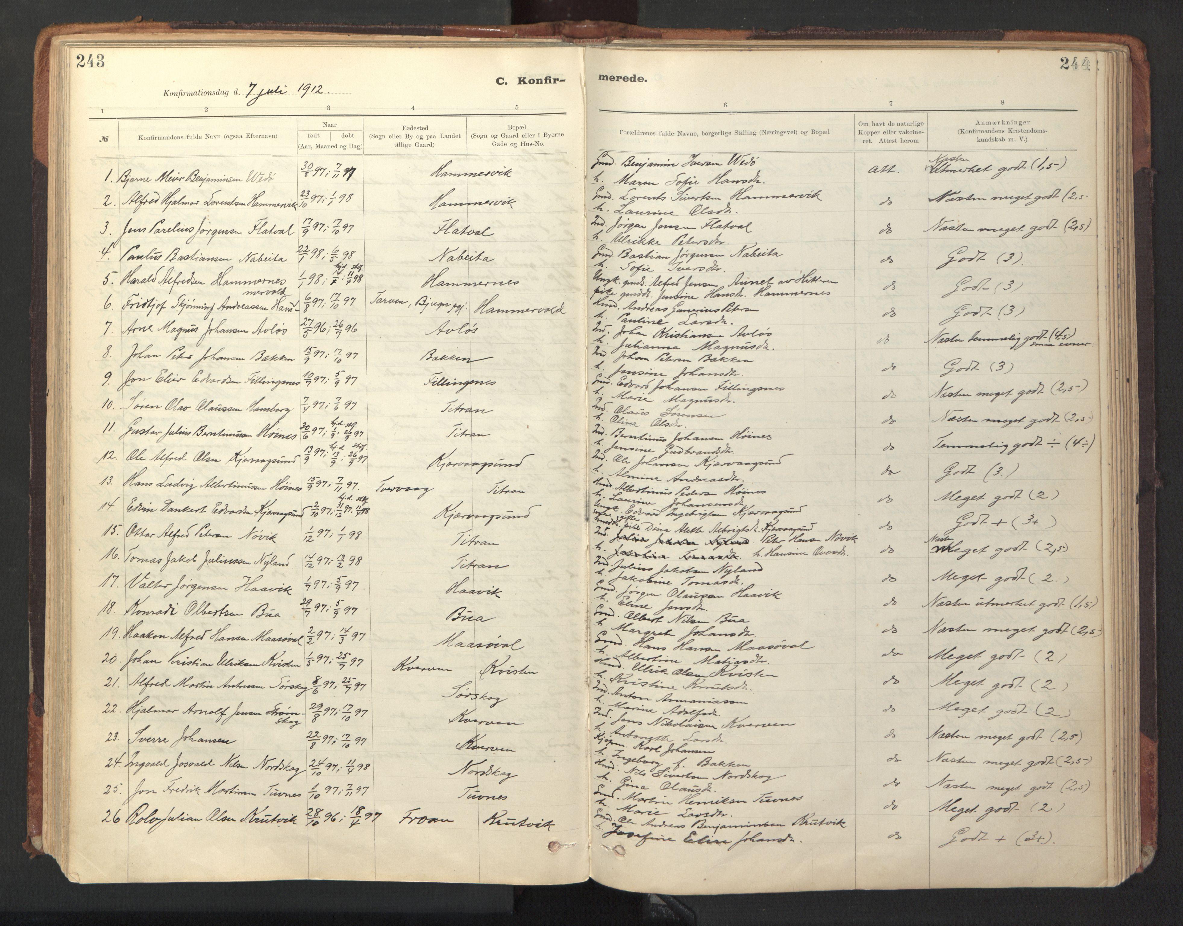 SAT, Ministerialprotokoller, klokkerbøker og fødselsregistre - Sør-Trøndelag, 641/L0596: Ministerialbok nr. 641A02, 1898-1915, s. 243-244