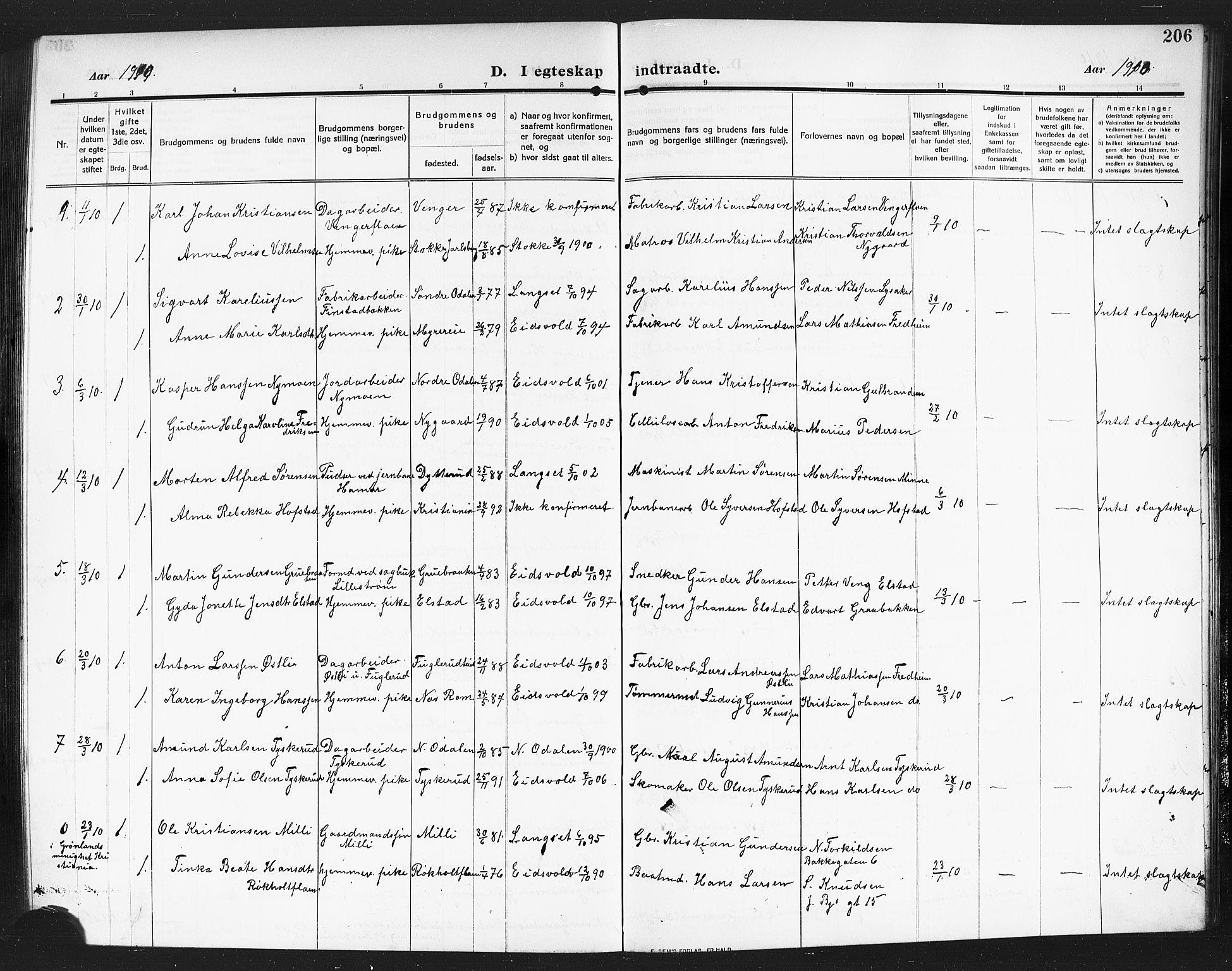 SAO, Eidsvoll prestekontor Kirkebøker, G/Ga/L0008: Klokkerbok nr. I 8, 1909-1918, s. 206