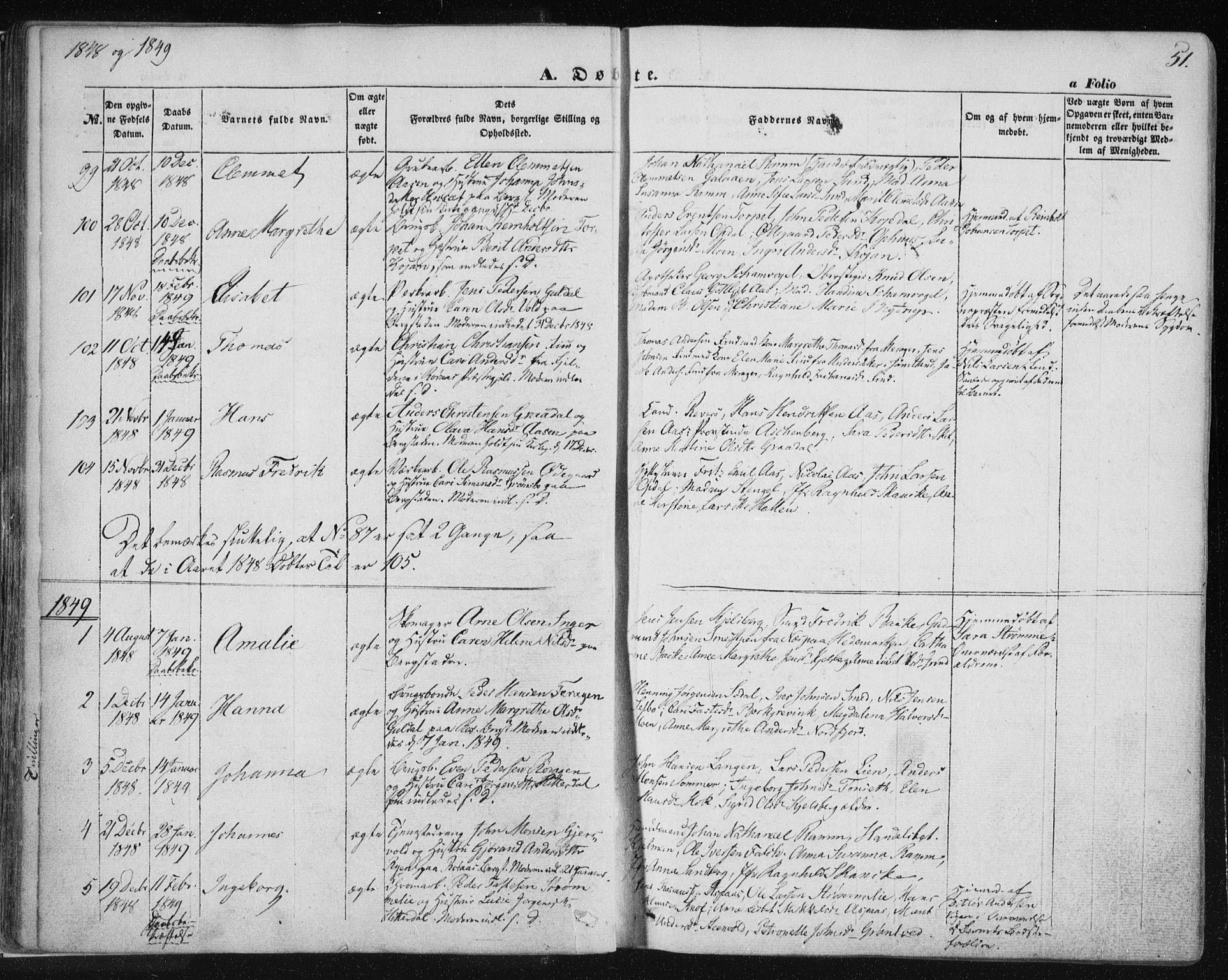 SAT, Ministerialprotokoller, klokkerbøker og fødselsregistre - Sør-Trøndelag, 681/L0931: Ministerialbok nr. 681A09, 1845-1859, s. 51
