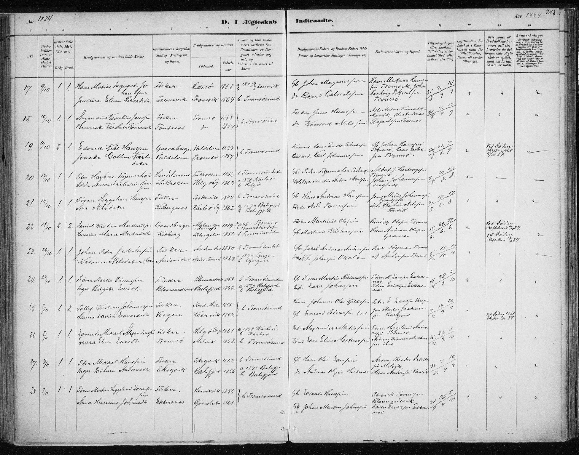 SATØ, Tromsøysund sokneprestkontor, G/Ga/L0004kirke: Ministerialbok nr. 4, 1880-1888, s. 203