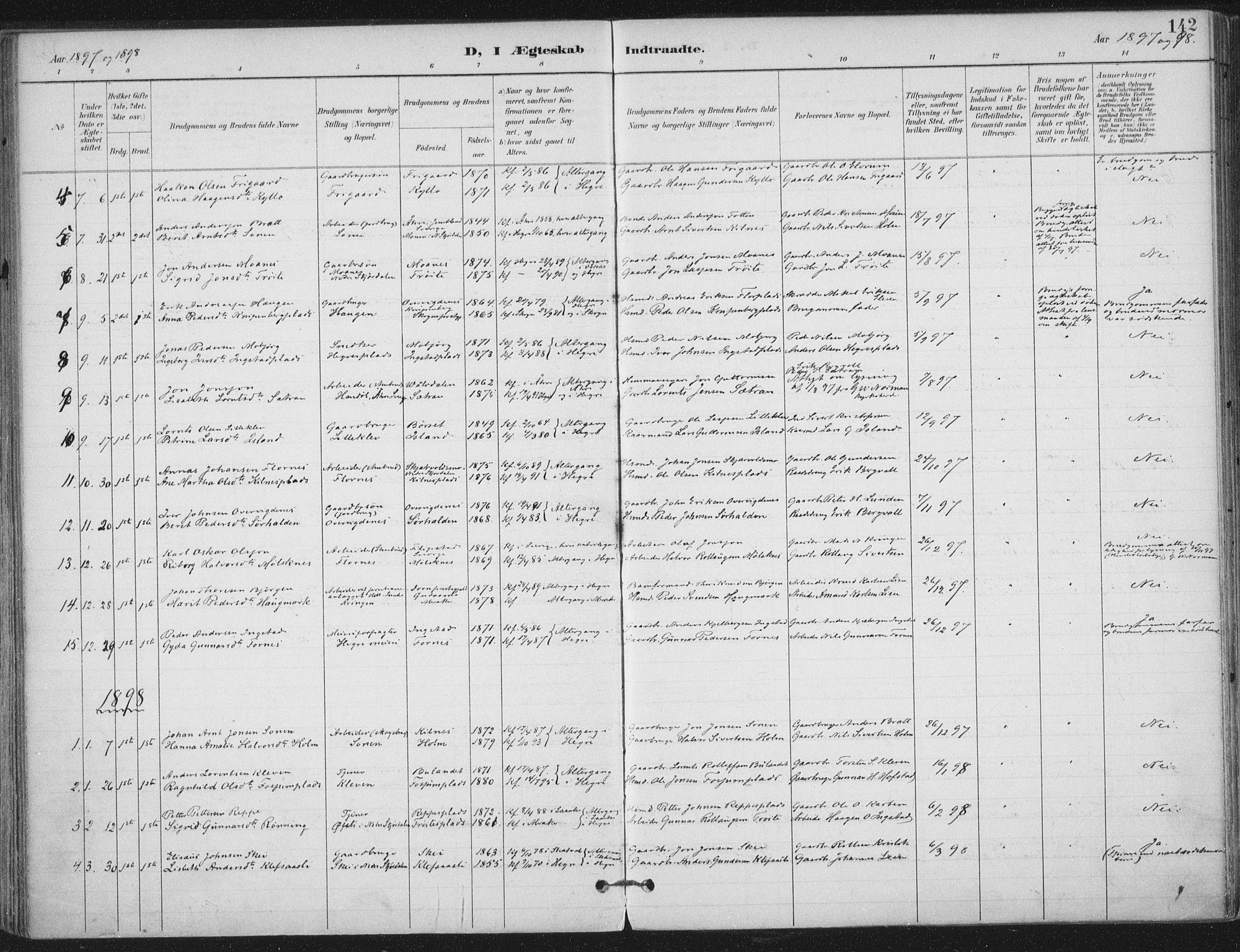 SAT, Ministerialprotokoller, klokkerbøker og fødselsregistre - Nord-Trøndelag, 703/L0031: Ministerialbok nr. 703A04, 1893-1914, s. 142