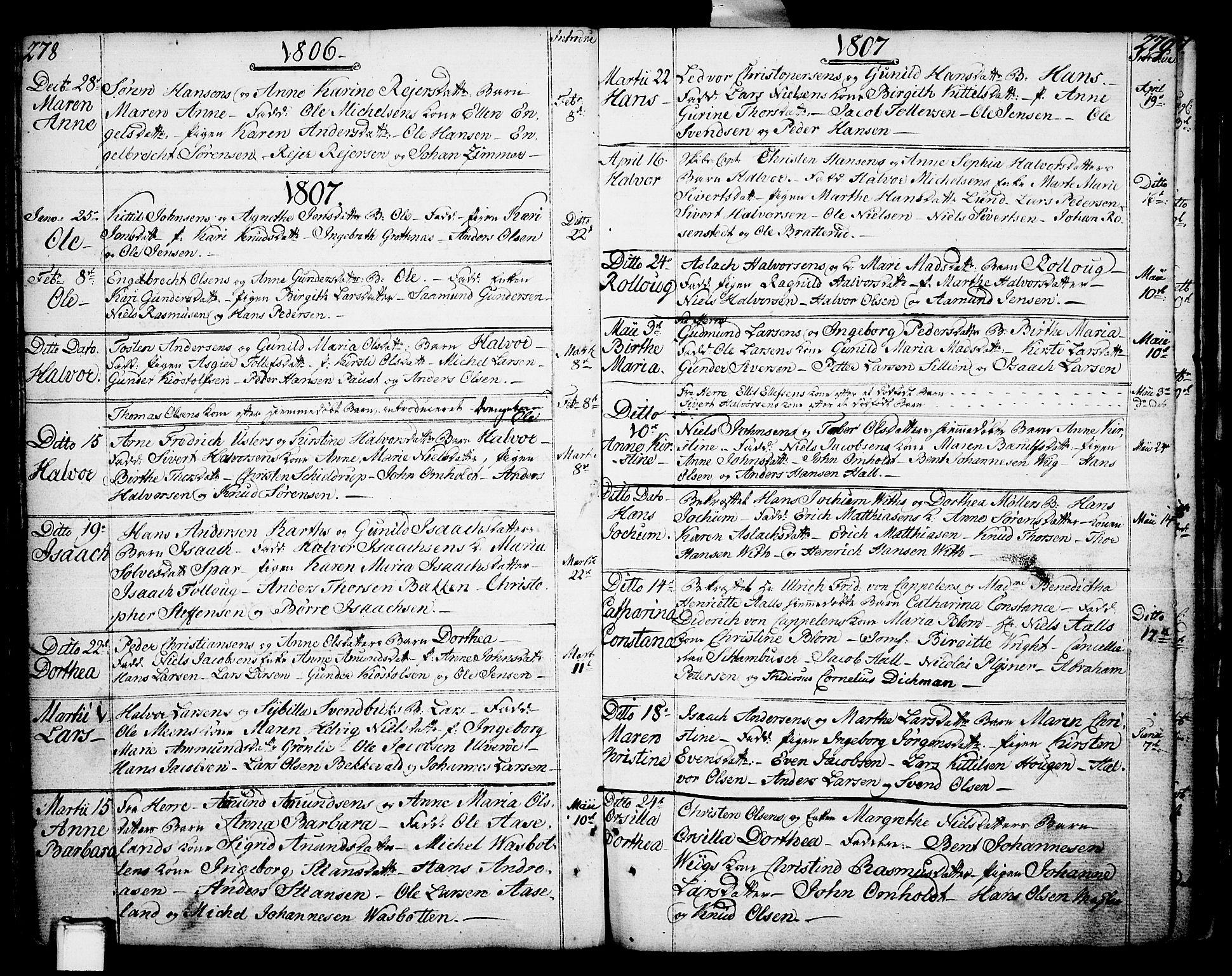 SAKO, Porsgrunn kirkebøker , F/Fa/L0002: Ministerialbok nr. 2, 1764-1814, s. 278-279