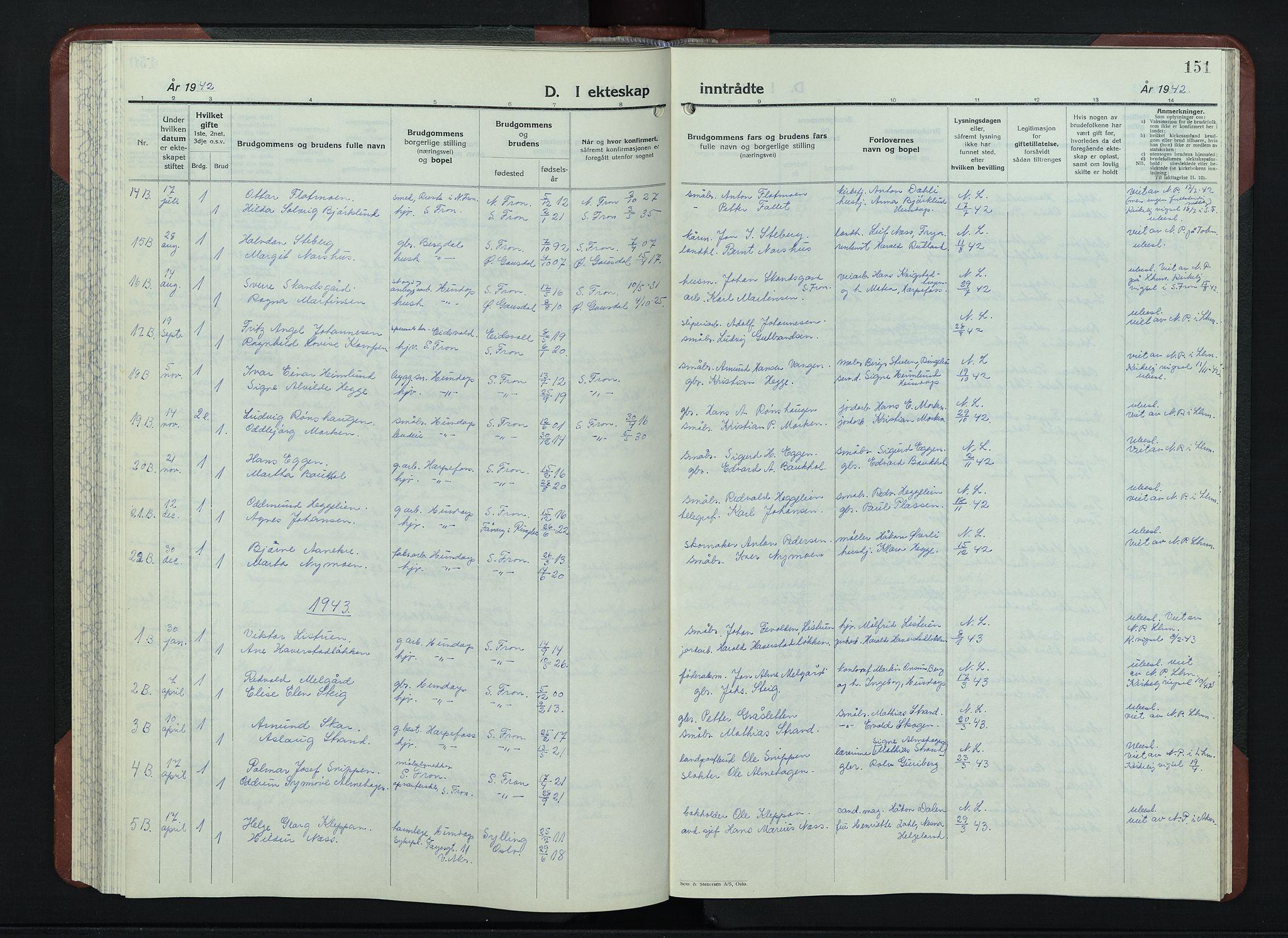 SAH, Sør-Fron prestekontor, H/Ha/Hab/L0006: Klokkerbok nr. 6, 1933-1948, s. 151