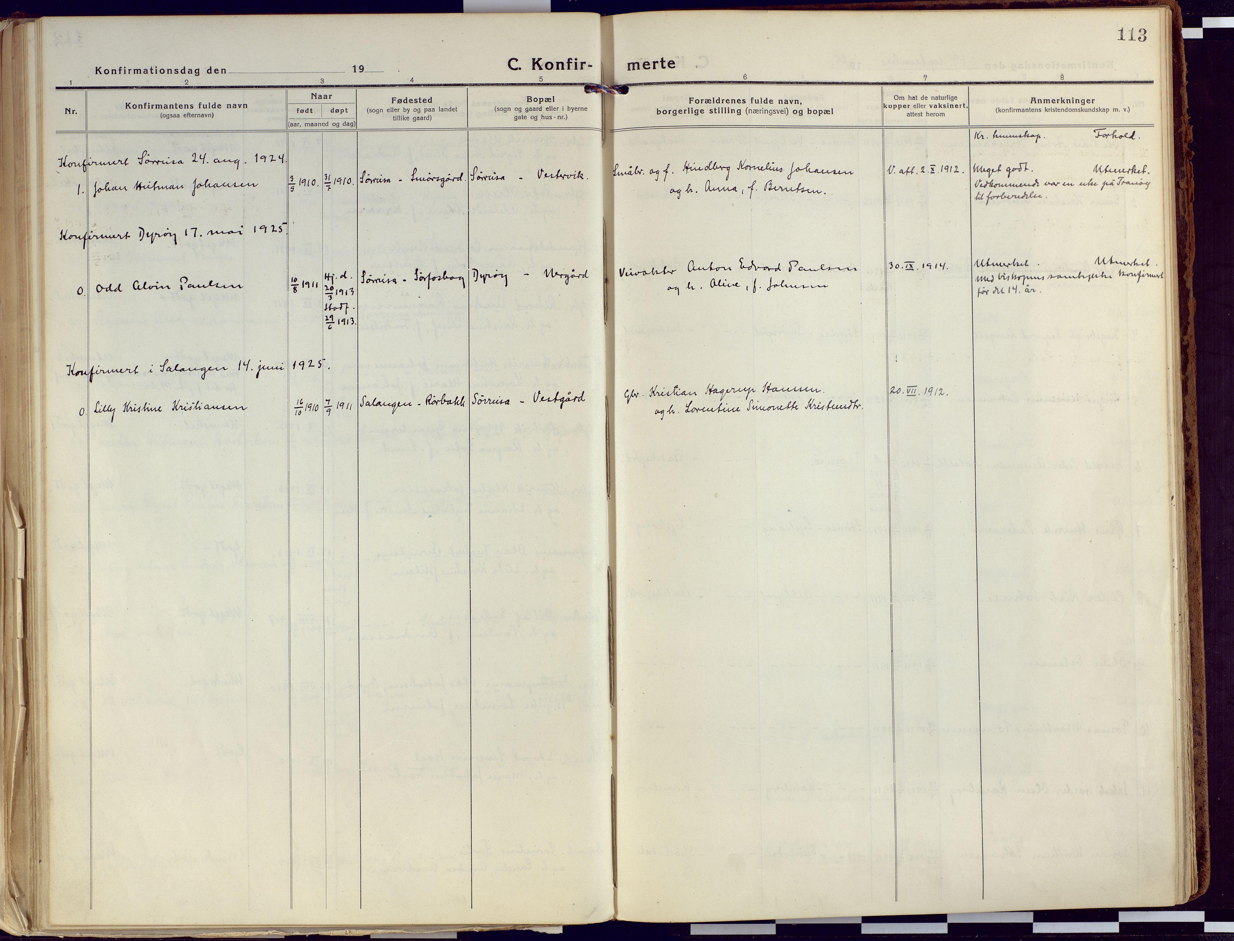 SATØ, Tranøy sokneprestkontor, I/Ia/Iaa/L0015kirke: Ministerialbok nr. 15, 1919-1928, s. 113