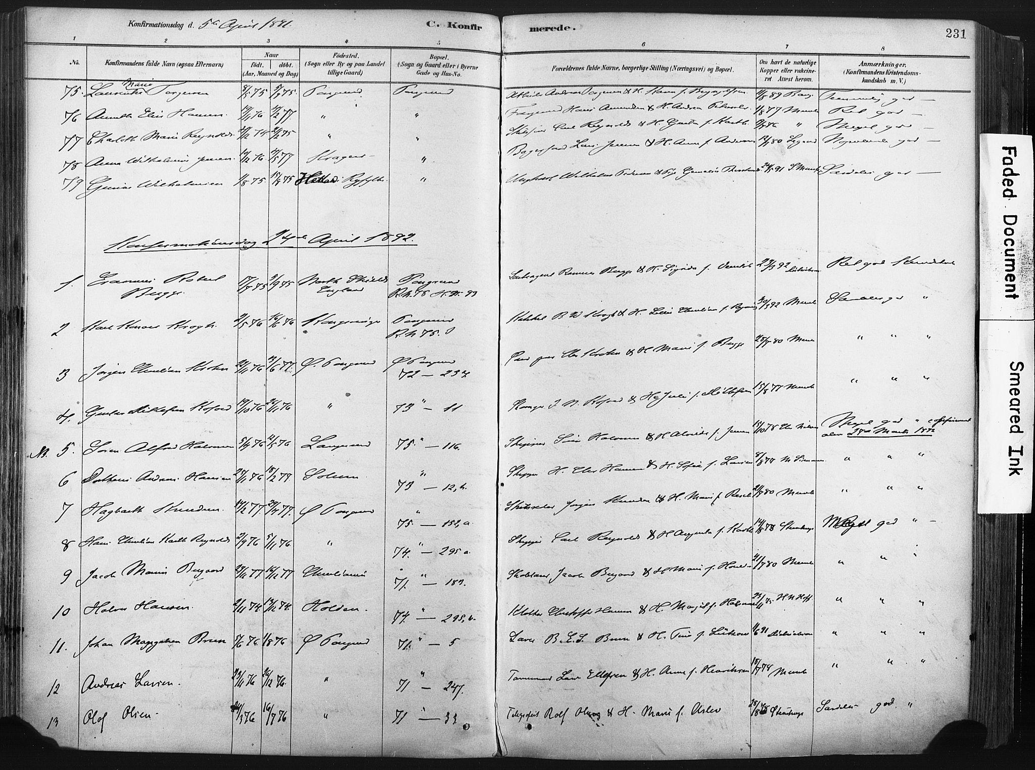 SAKO, Porsgrunn kirkebøker , F/Fa/L0008: Ministerialbok nr. 8, 1878-1895, s. 231