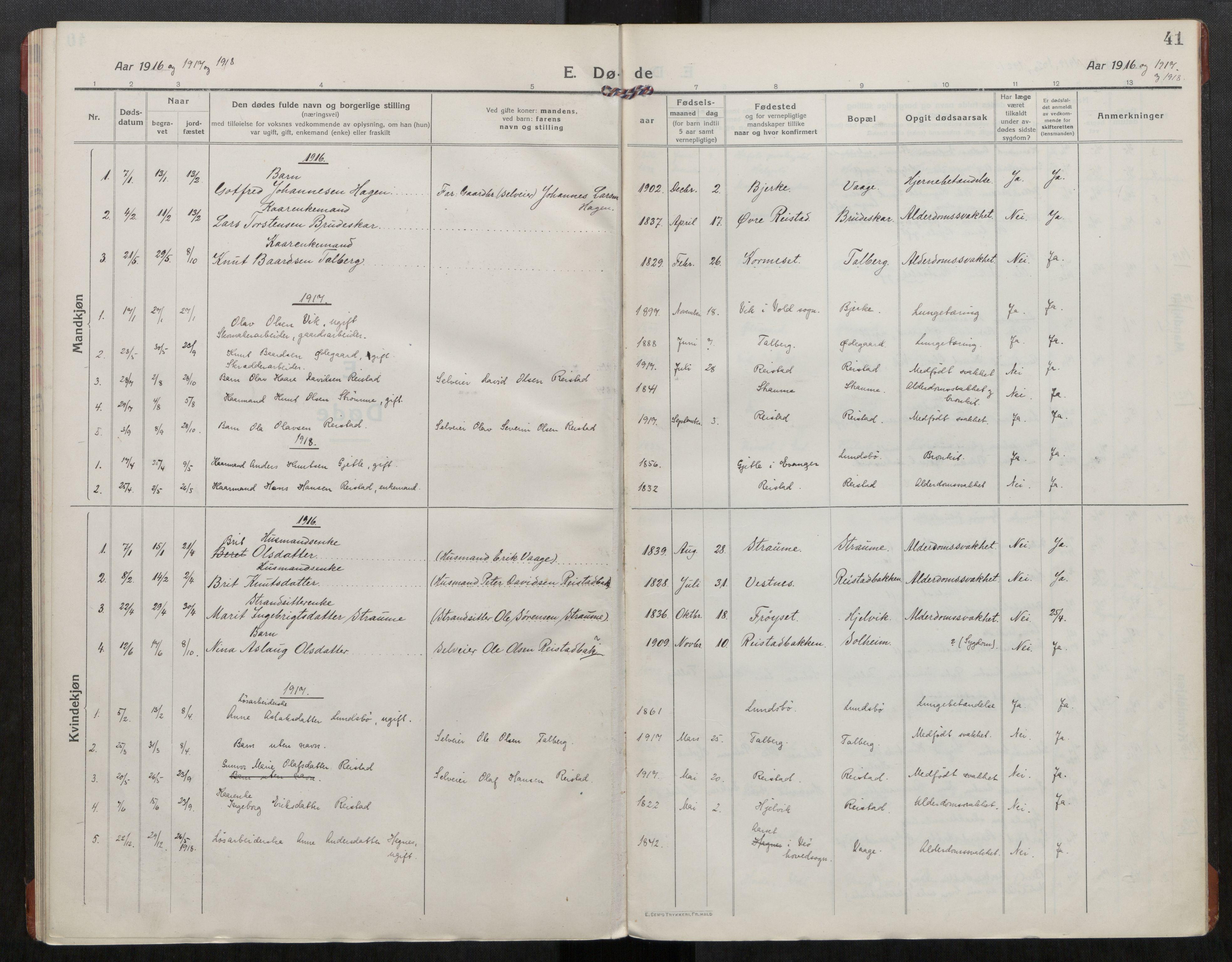 SAT, Grytten sokneprestkontor, Ministerialbok nr. 550A02, 1916-1931, s. 41