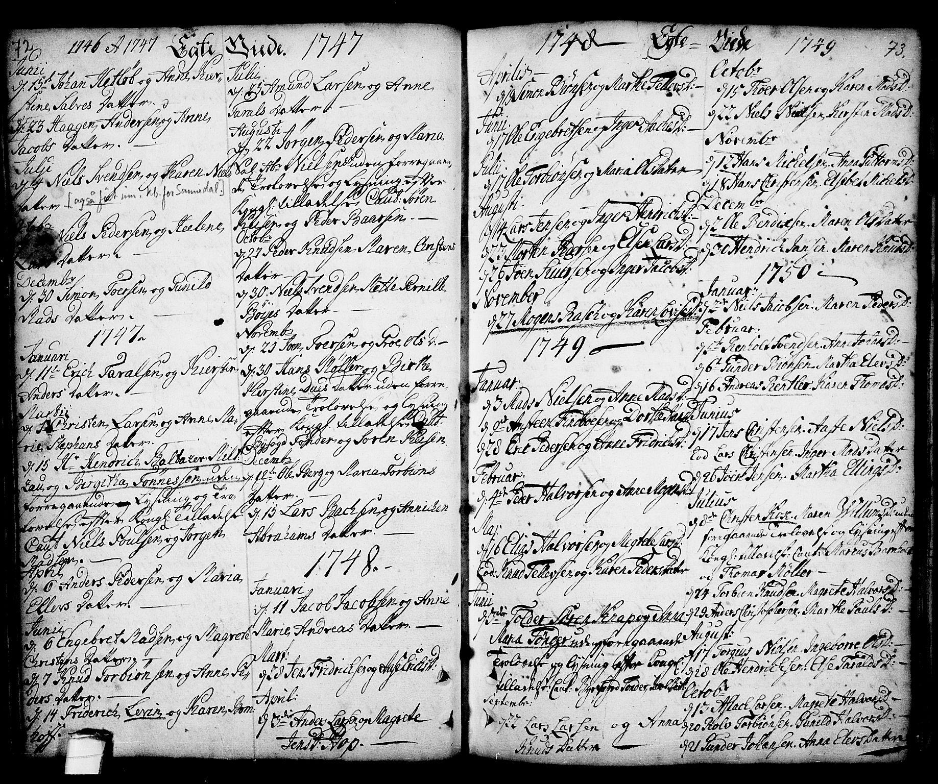 SAKO, Kragerø kirkebøker, F/Fa/L0001: Ministerialbok nr. 1, 1702-1766, s. 72-73