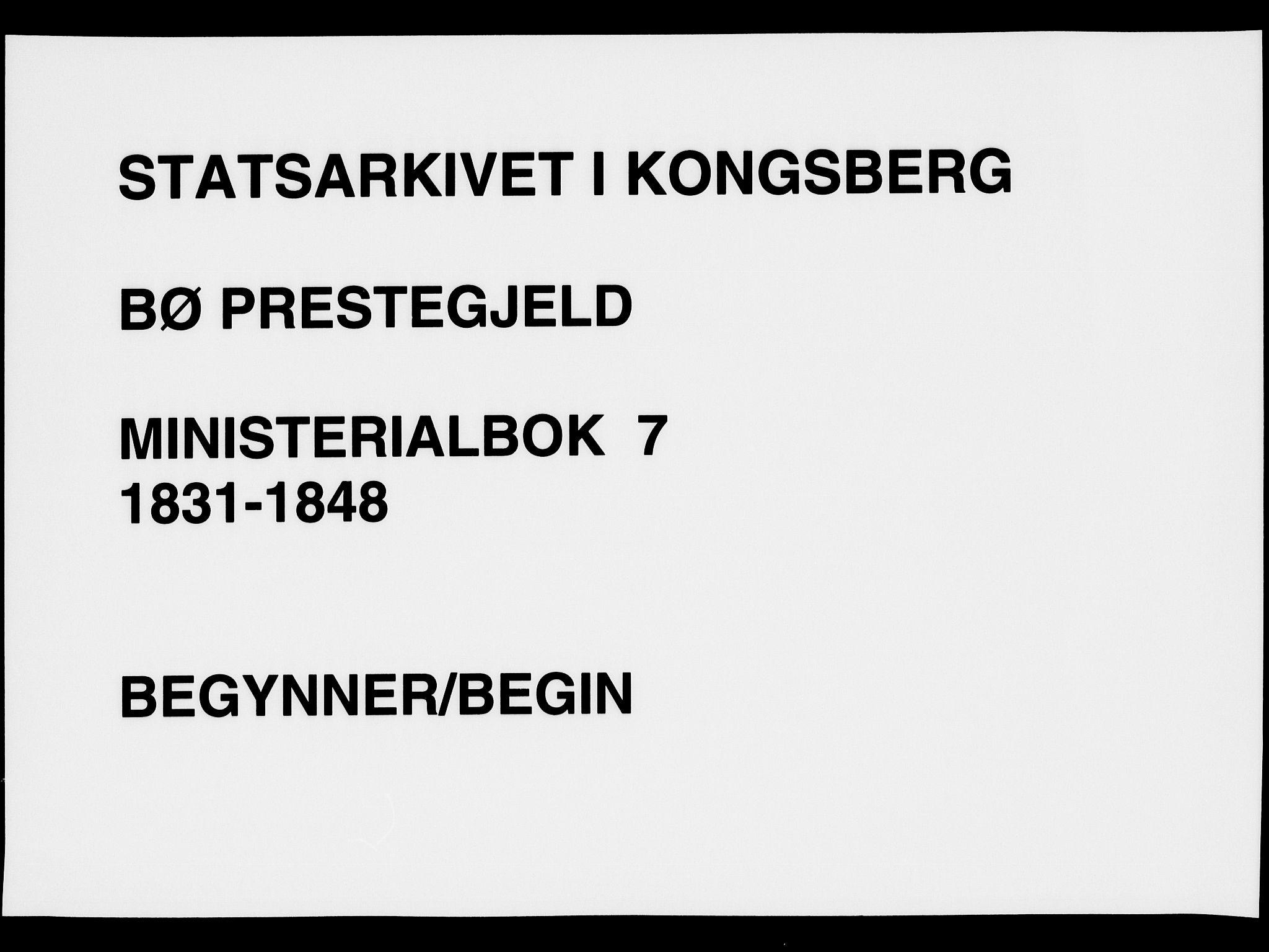 SAKO, Bø kirkebøker, F/Fa/L0007: Ministerialbok nr. 7, 1831-1848
