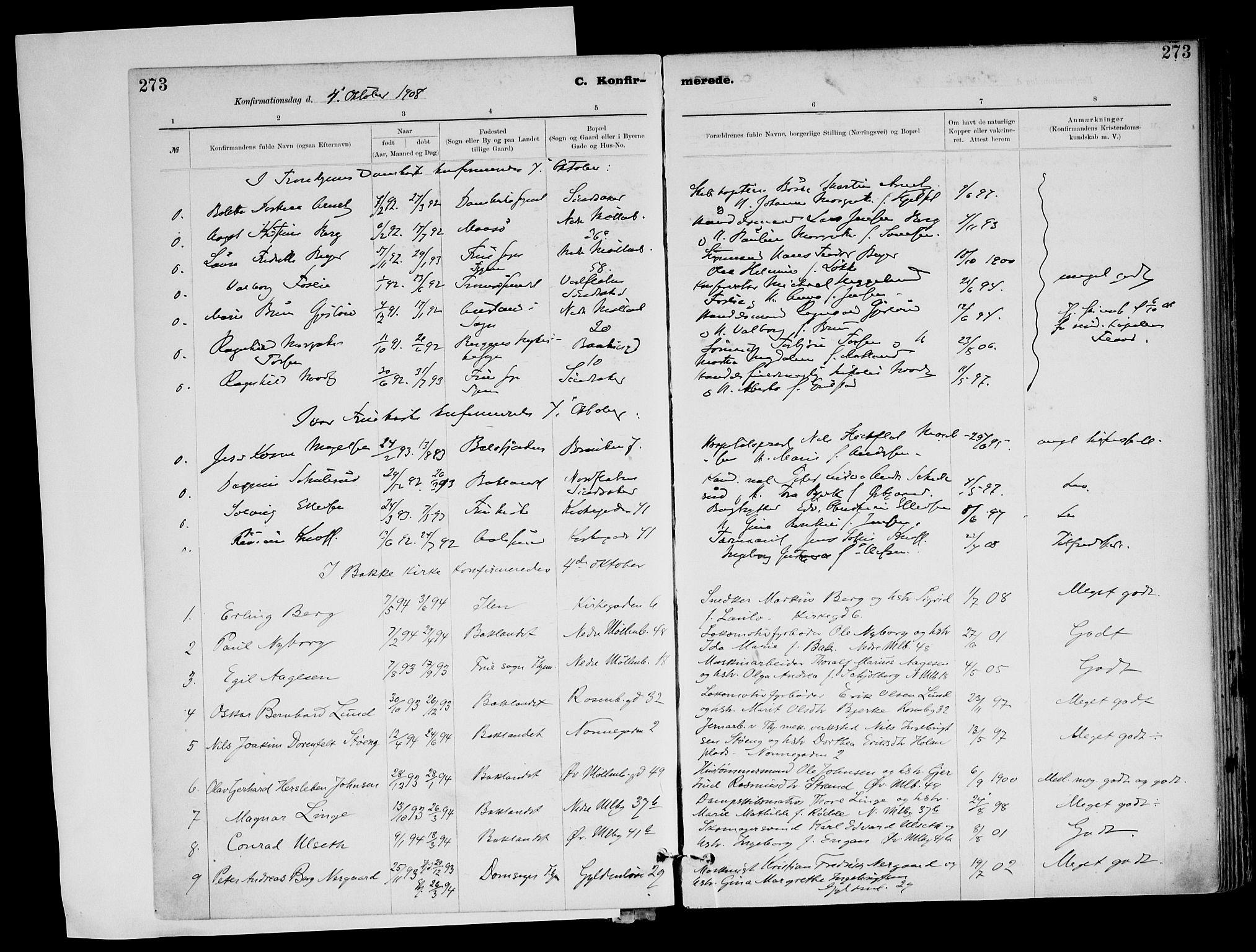 SAT, Ministerialprotokoller, klokkerbøker og fødselsregistre - Sør-Trøndelag, 604/L0203: Ministerialbok nr. 604A23, 1908-1916, s. 273