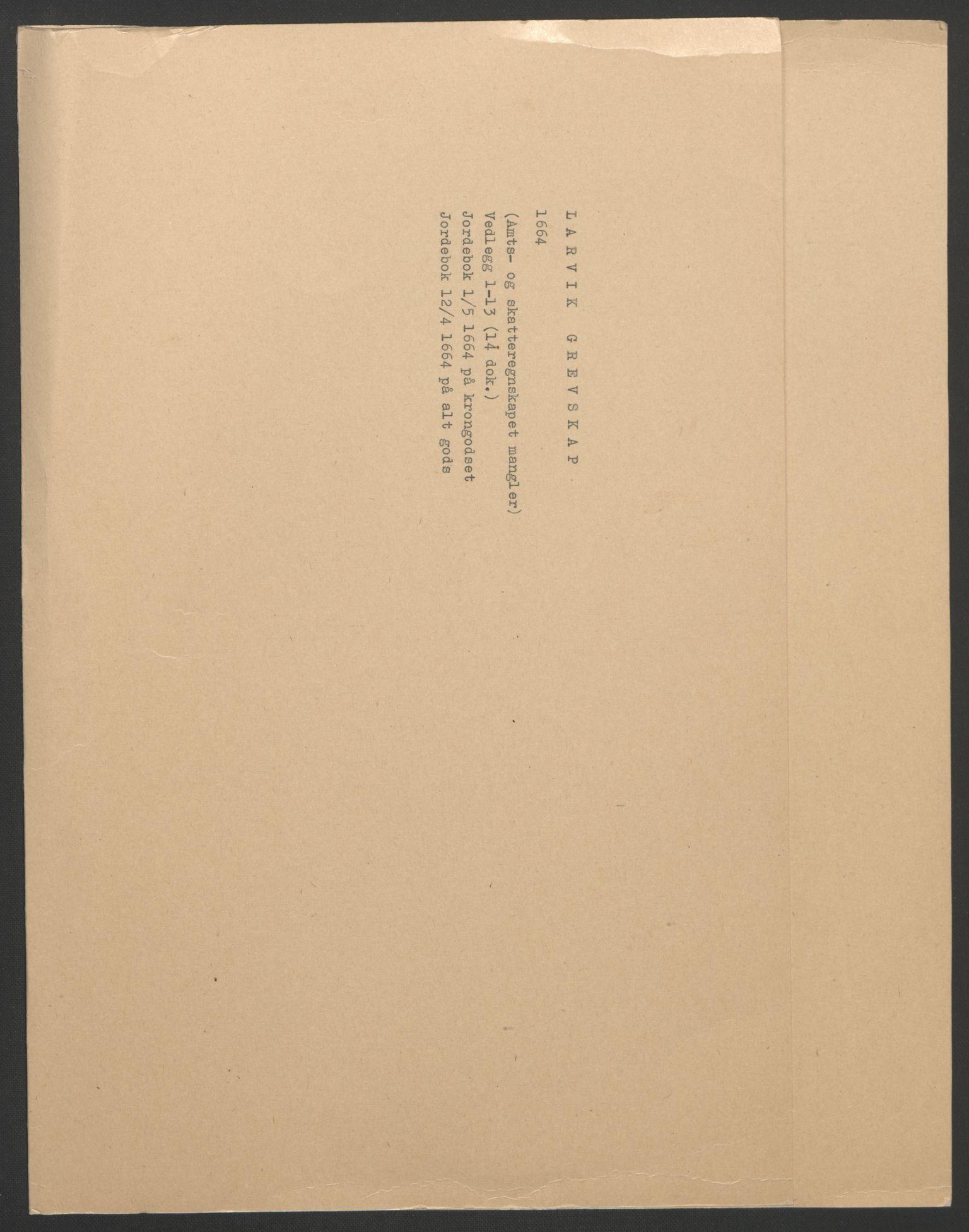 RA, Rentekammeret inntil 1814, Reviderte regnskaper, Fogderegnskap, R33/L1963: Fogderegnskap Larvik grevskap, 1662-1664, s. 197