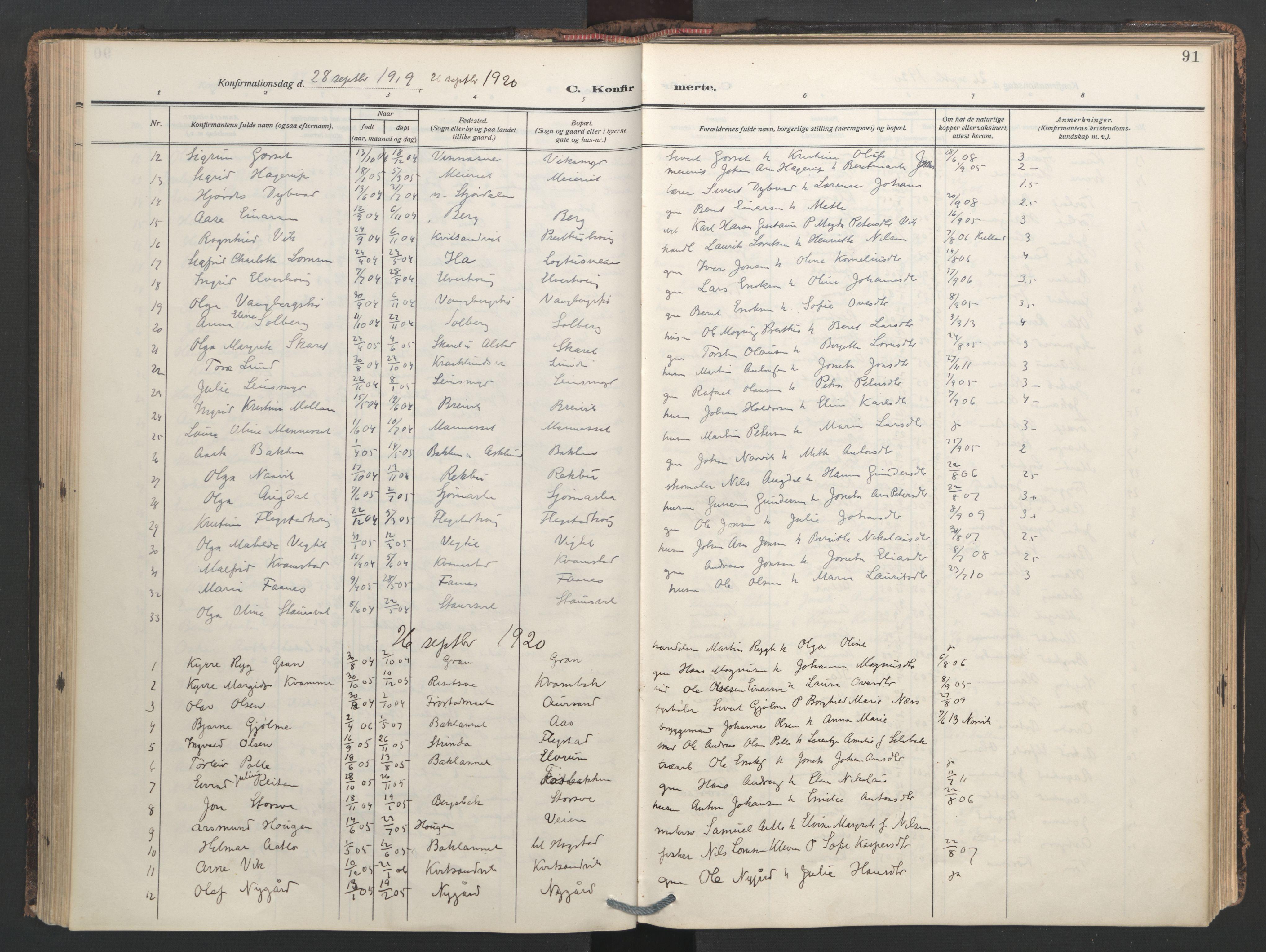 SAT, Ministerialprotokoller, klokkerbøker og fødselsregistre - Nord-Trøndelag, 713/L0123: Ministerialbok nr. 713A12, 1911-1925, s. 91
