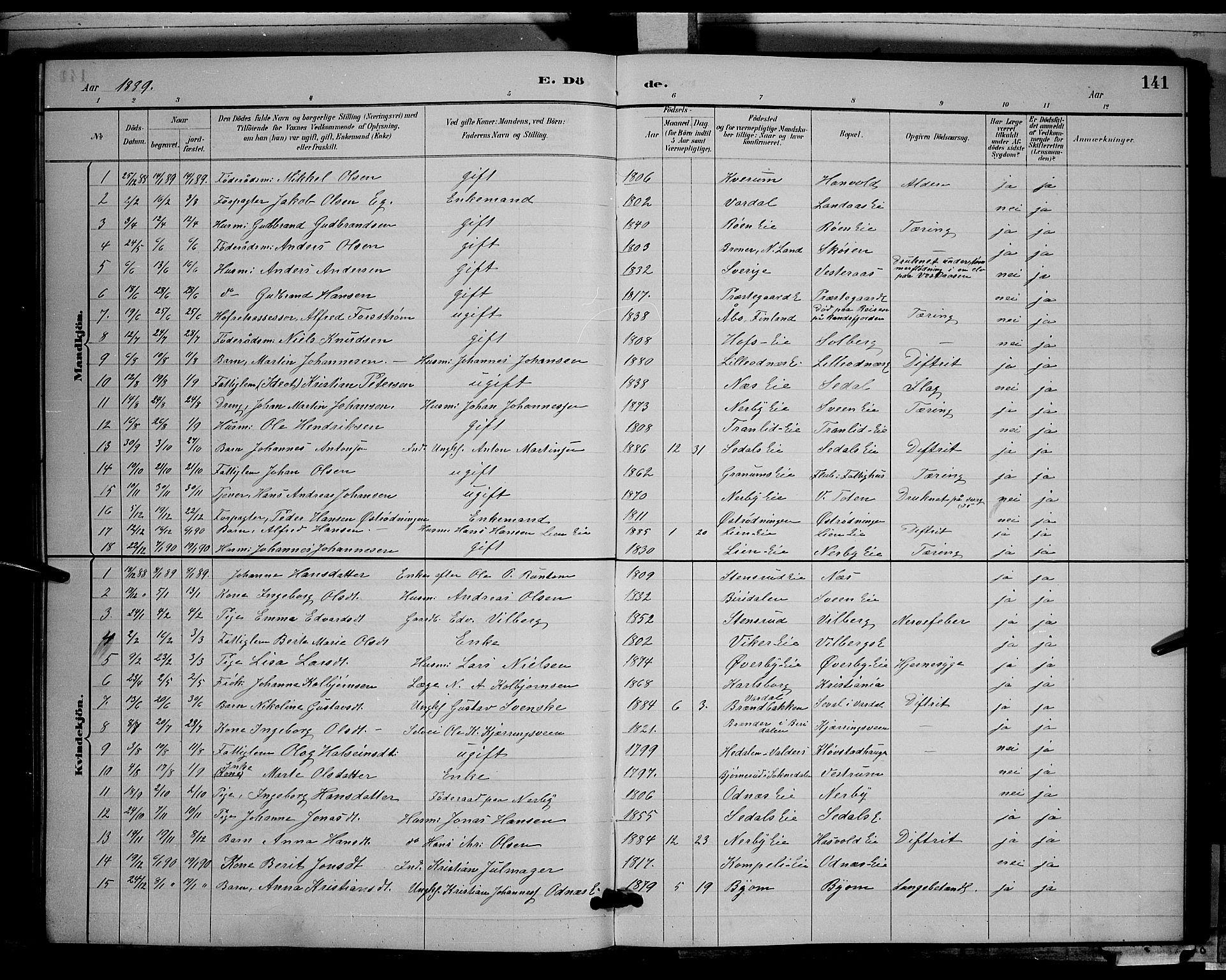 SAH, Søndre Land prestekontor, L/L0003: Klokkerbok nr. 3, 1884-1902, s. 141
