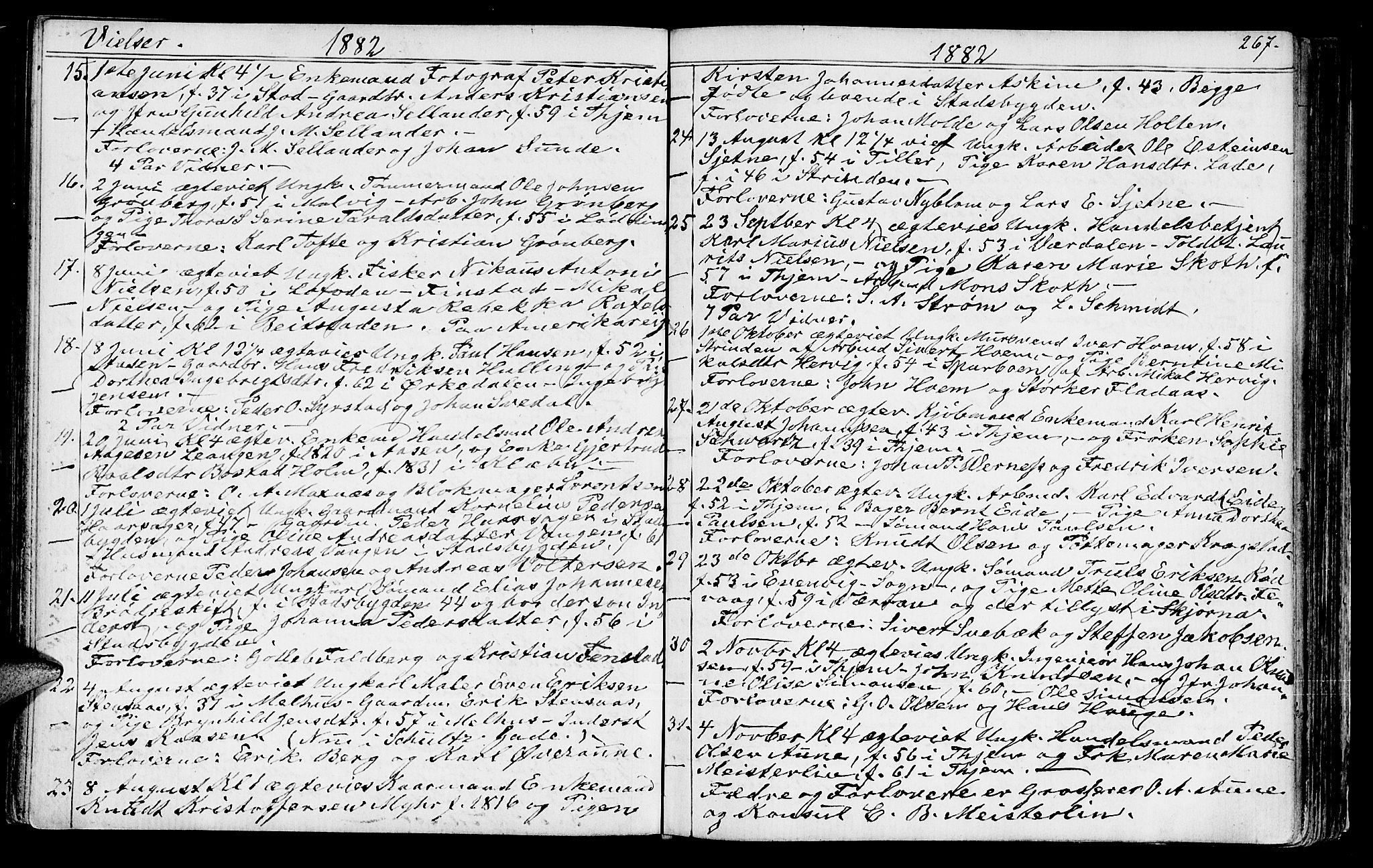 SAT, Ministerialprotokoller, klokkerbøker og fødselsregistre - Sør-Trøndelag, 602/L0142: Klokkerbok nr. 602C10, 1872-1894, s. 267