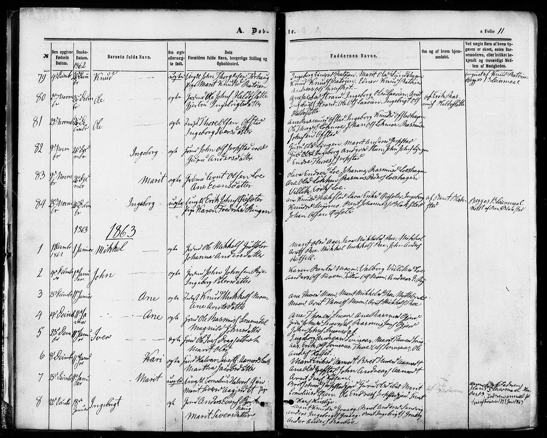 SAT, Ministerialprotokoller, klokkerbøker og fødselsregistre - Sør-Trøndelag, 672/L0856: Ministerialbok nr. 672A08, 1861-1881, s. 11