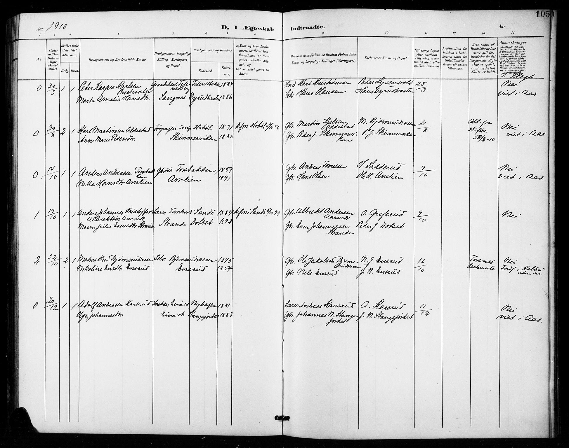 SAH, Vestre Toten prestekontor, Klokkerbok nr. 16, 1901-1915, s. 105