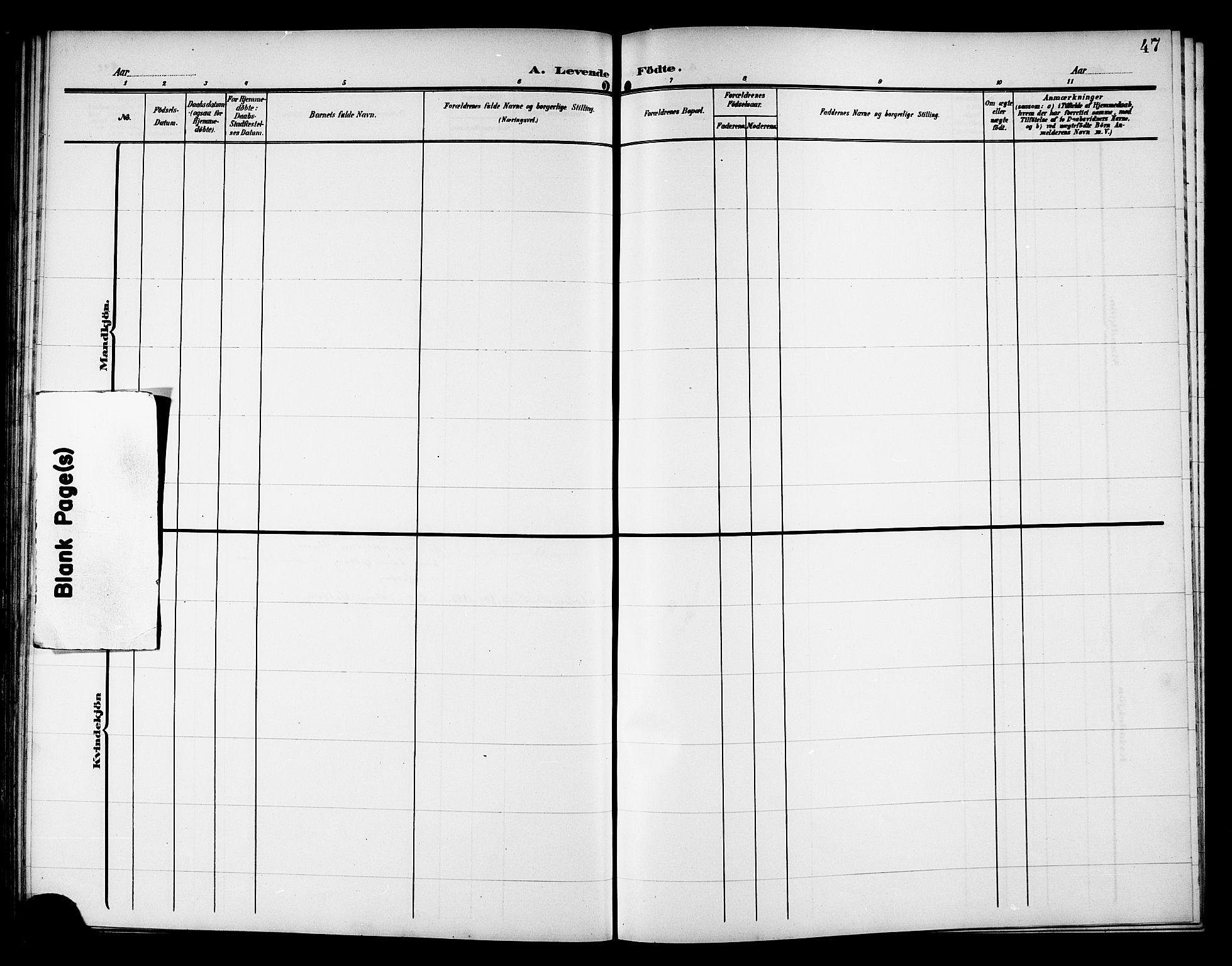 SAT, Ministerialprotokoller, klokkerbøker og fødselsregistre - Nord-Trøndelag, 757/L0506: Klokkerbok nr. 757C01, 1904-1922, s. 47