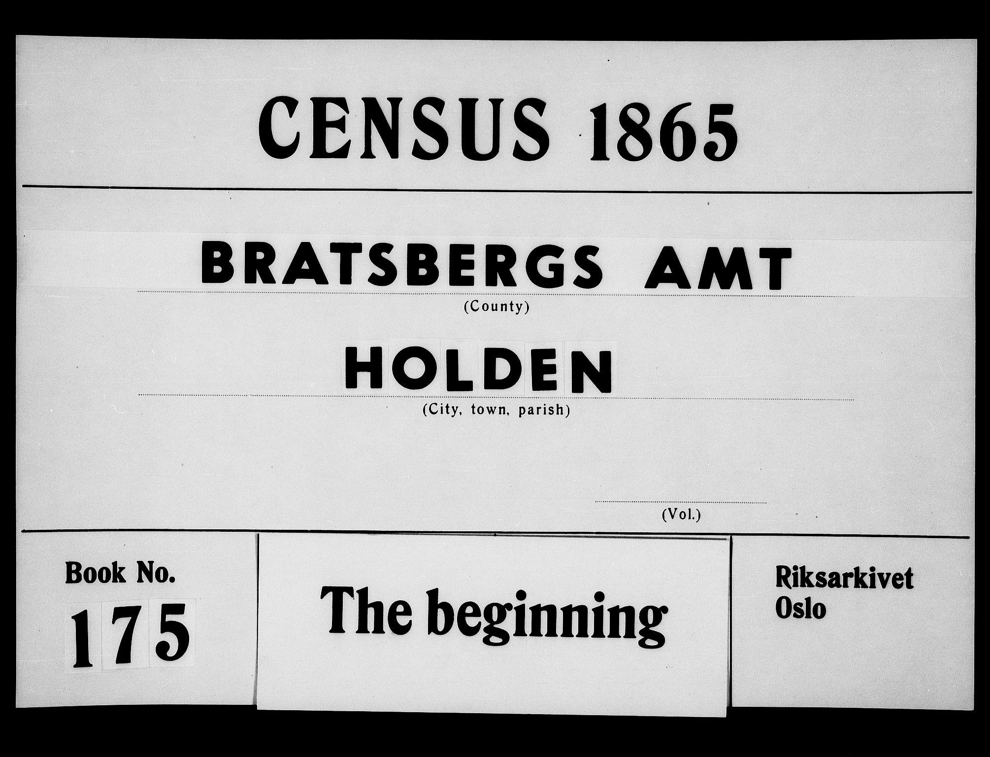 RA, Folketelling 1865 for 0819P Holla prestegjeld, 1865, s. 1