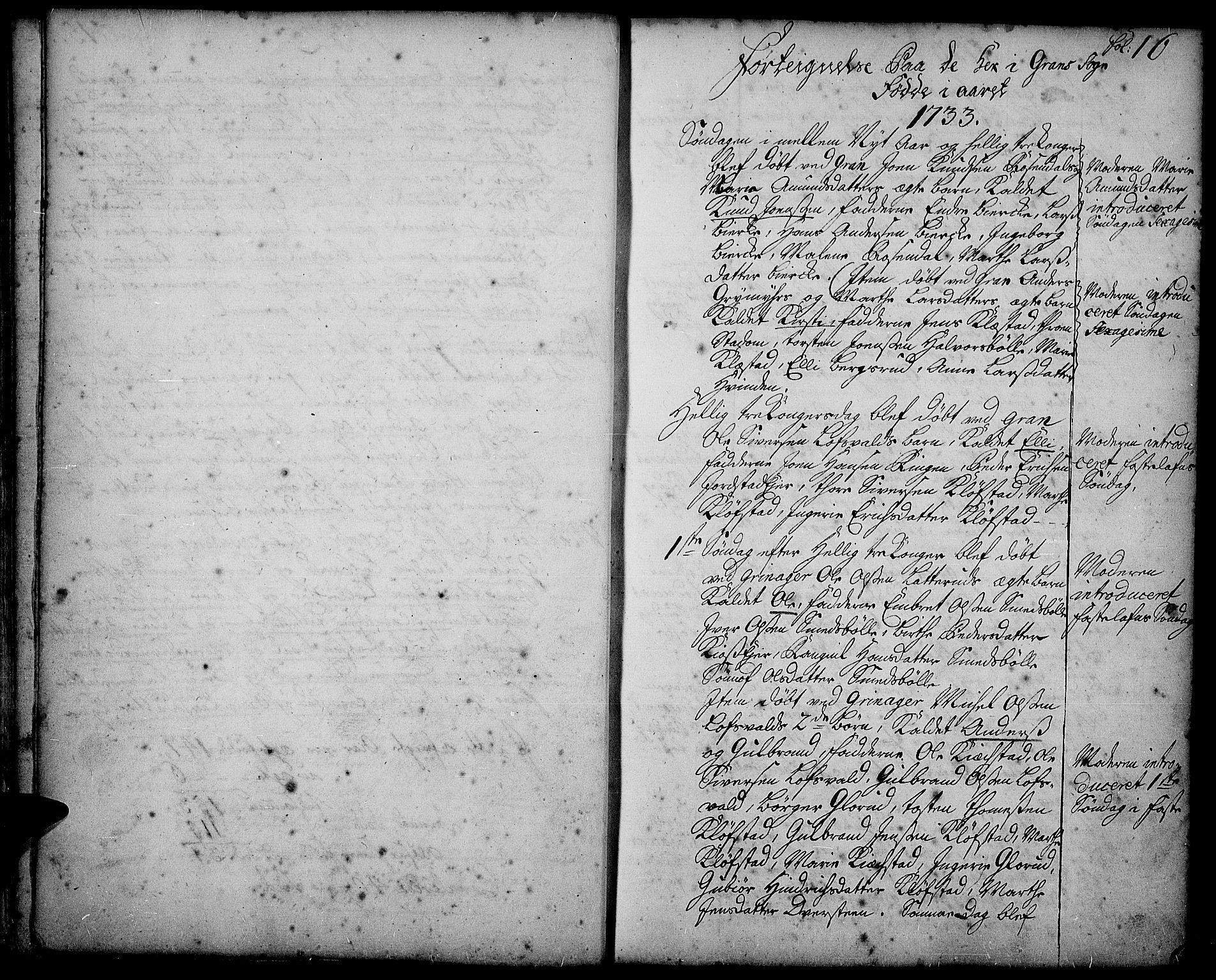 SAH, Gran prestekontor, Ministerialbok nr. 2, 1732-1744, s. 16