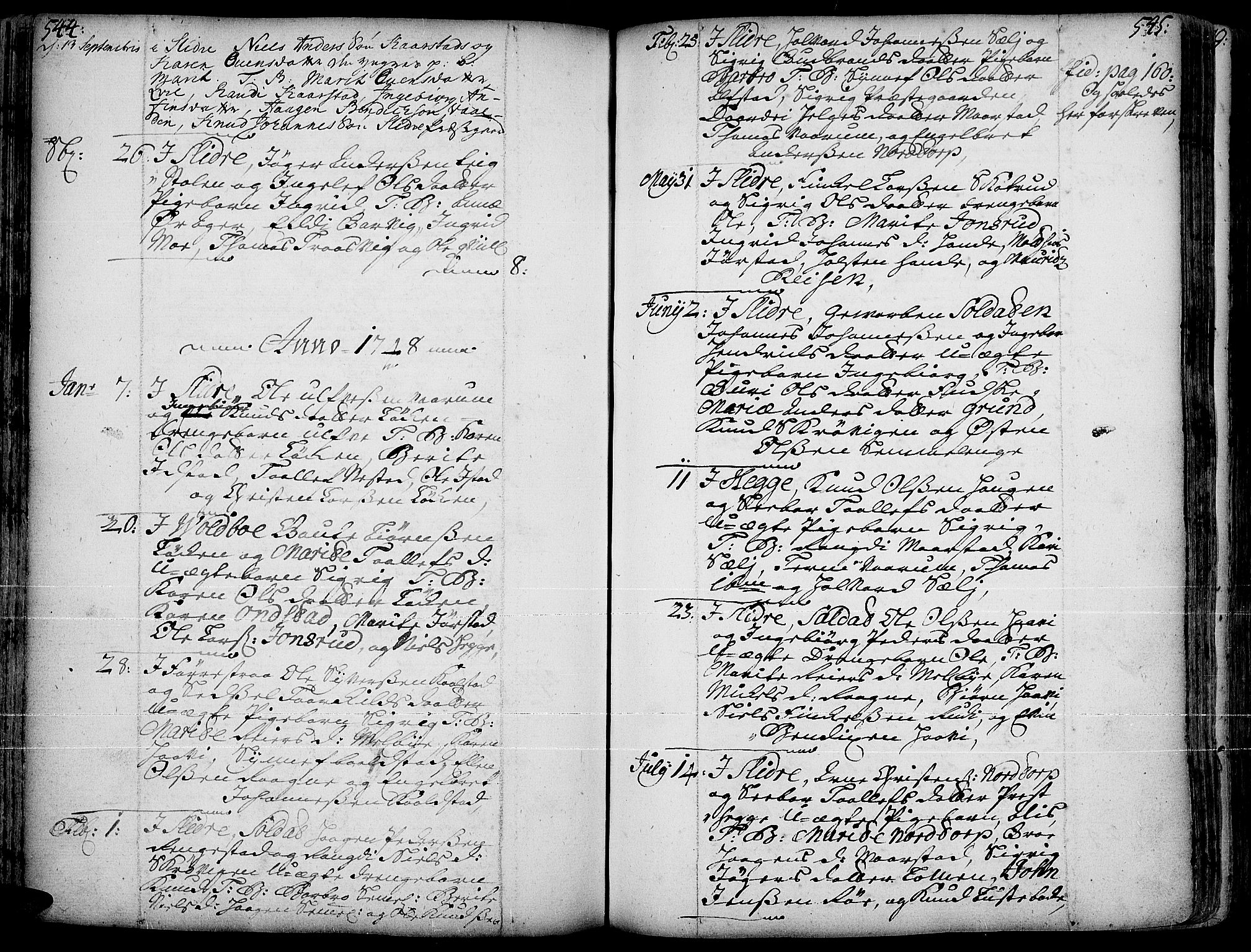 SAH, Slidre prestekontor, Ministerialbok nr. 1, 1724-1814, s. 544-545