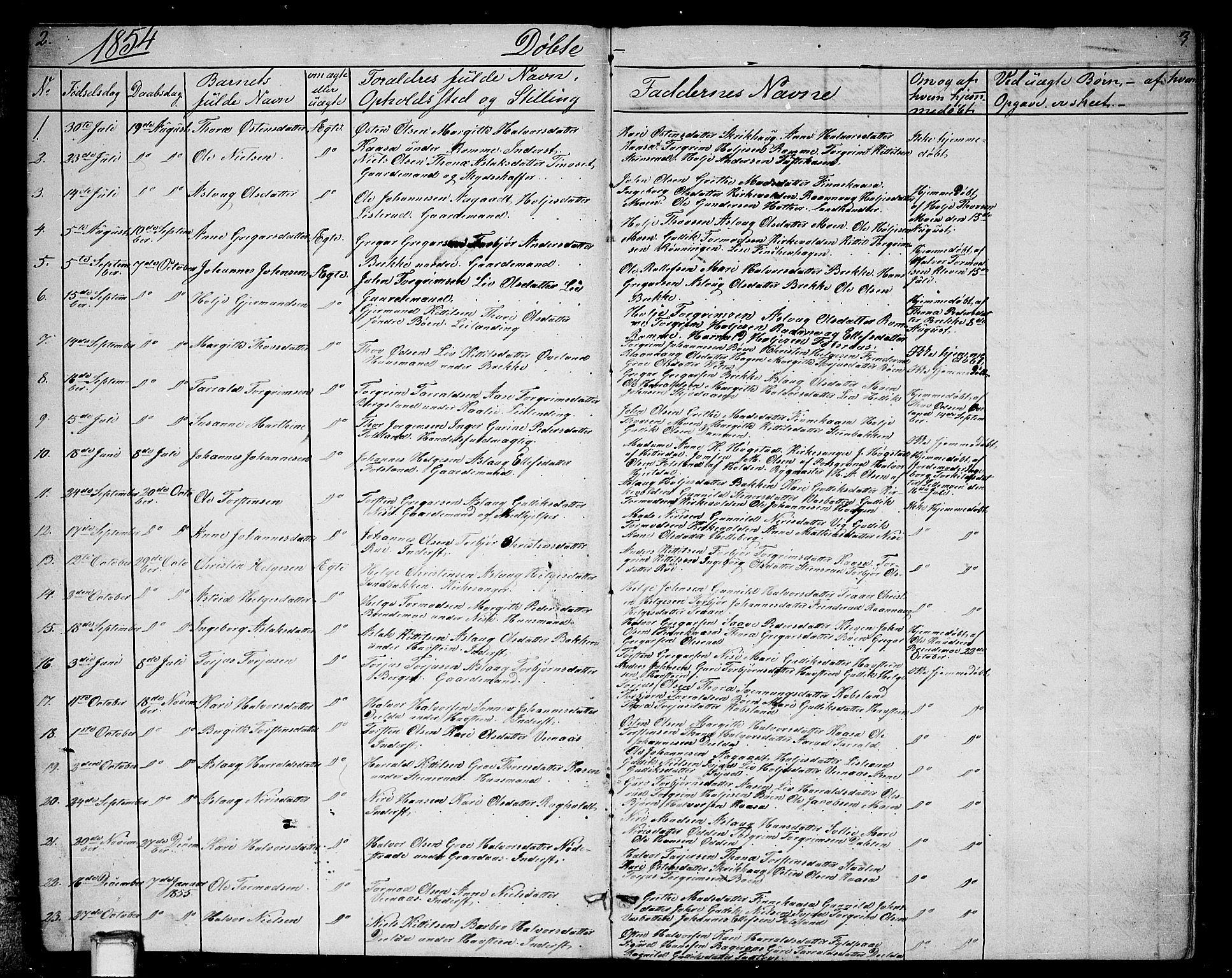 SAKO, Gransherad kirkebøker, G/Ga/L0002: Klokkerbok nr. I 2, 1854-1886, s. 2-3