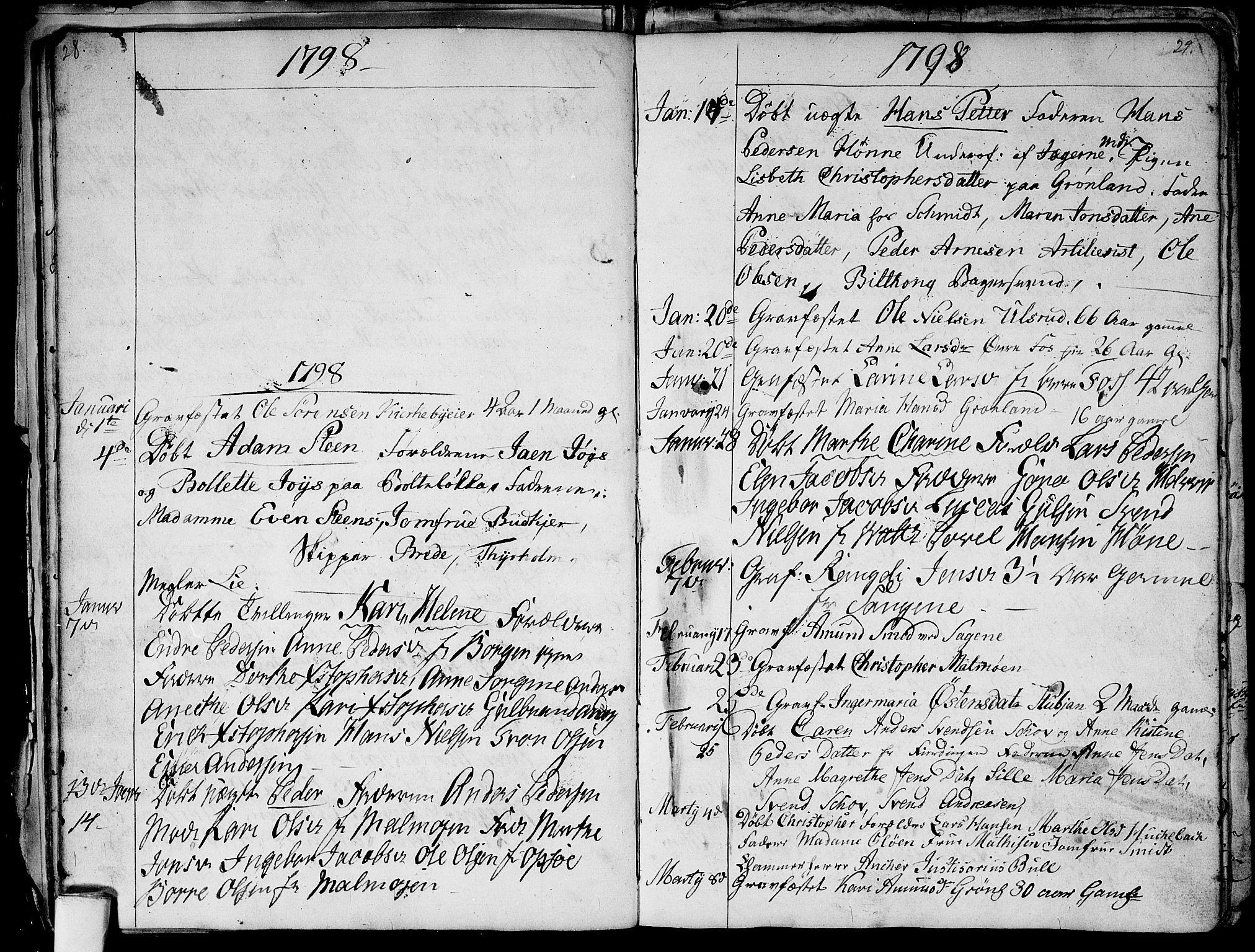 SAO, Aker prestekontor kirkebøker, G/L0001: Klokkerbok nr. 1, 1796-1826, s. 28-29