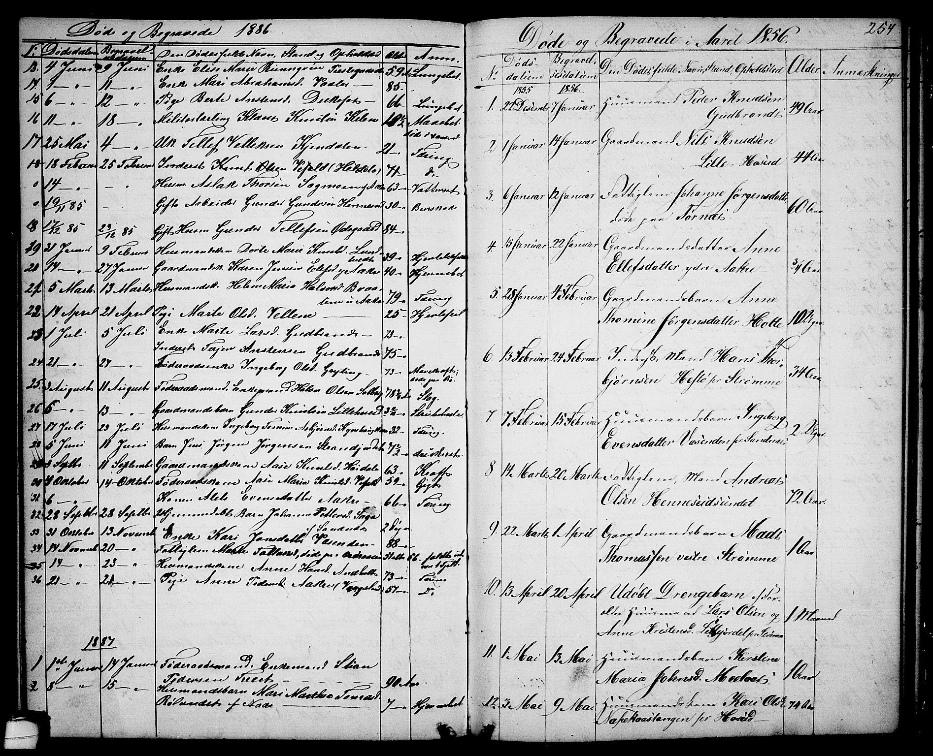 SAKO, Drangedal kirkebøker, G/Ga/L0002: Klokkerbok nr. I 2, 1856-1887, s. 254