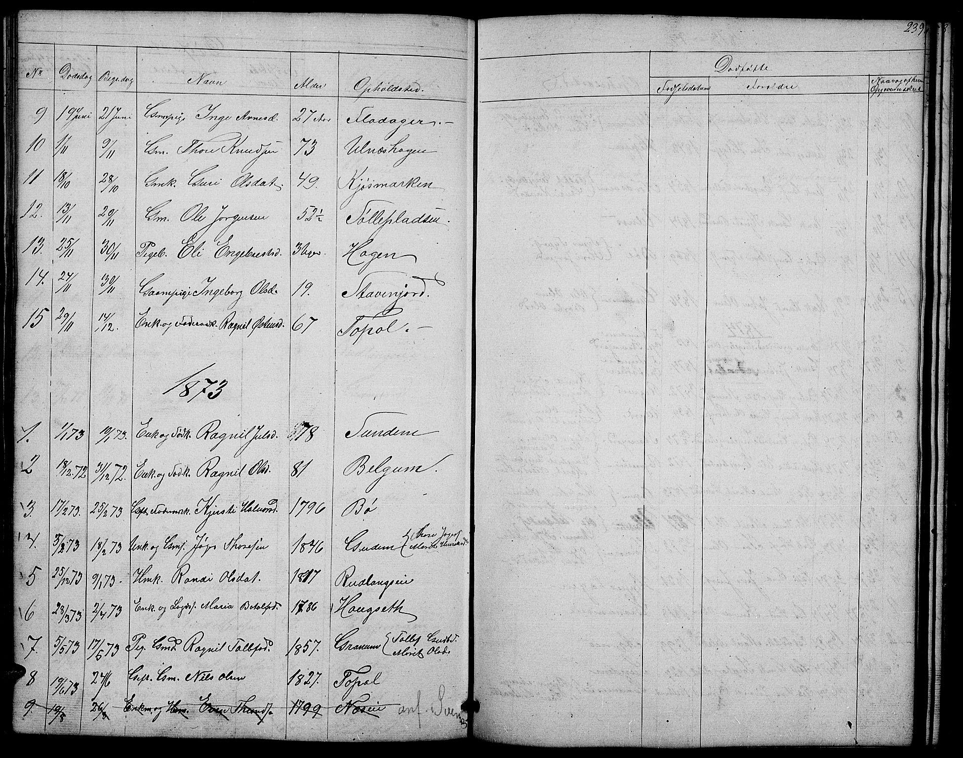 SAH, Nord-Aurdal prestekontor, Klokkerbok nr. 4, 1842-1882, s. 239