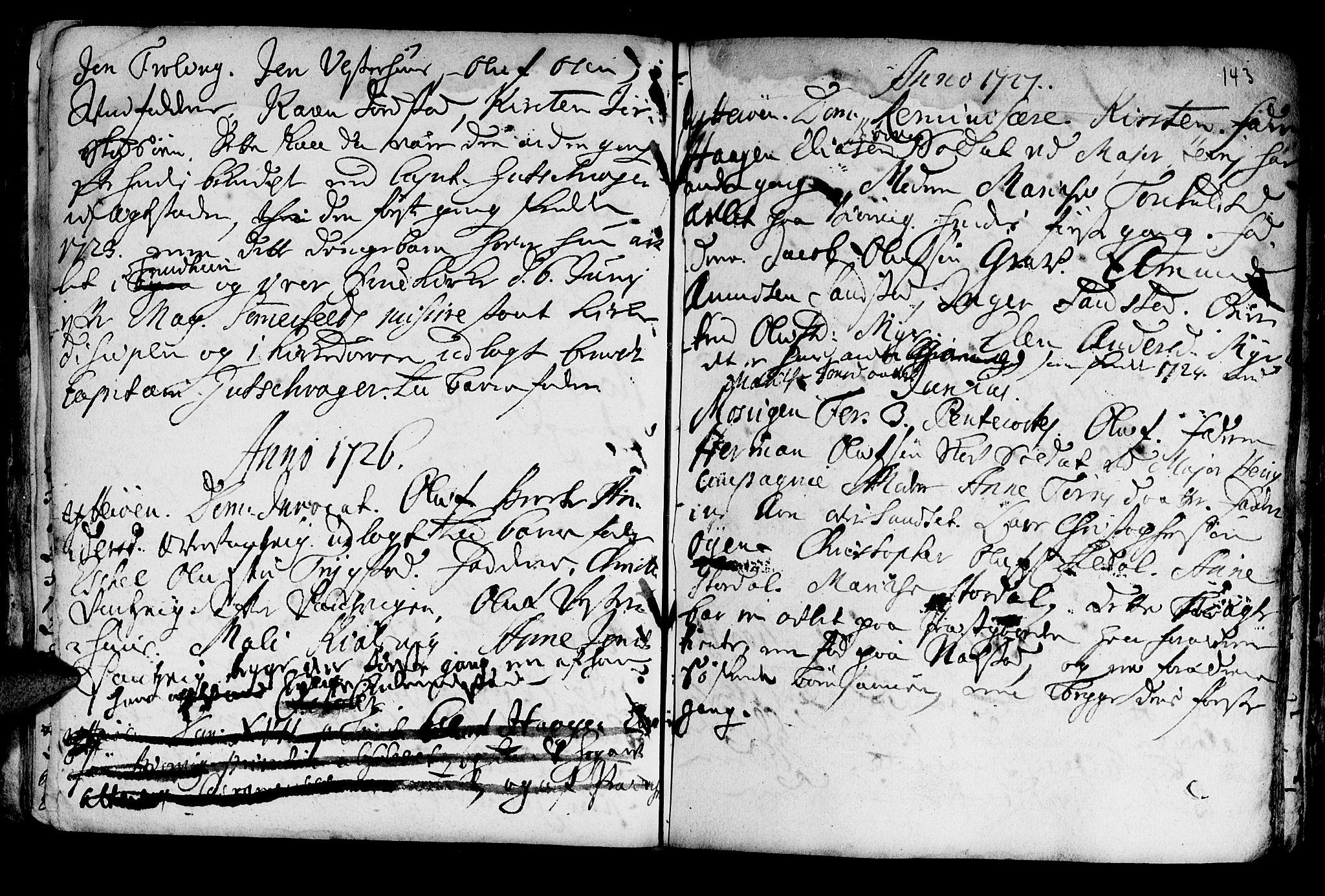SAT, Ministerialprotokoller, klokkerbøker og fødselsregistre - Nord-Trøndelag, 722/L0215: Ministerialbok nr. 722A02, 1718-1755, s. 143
