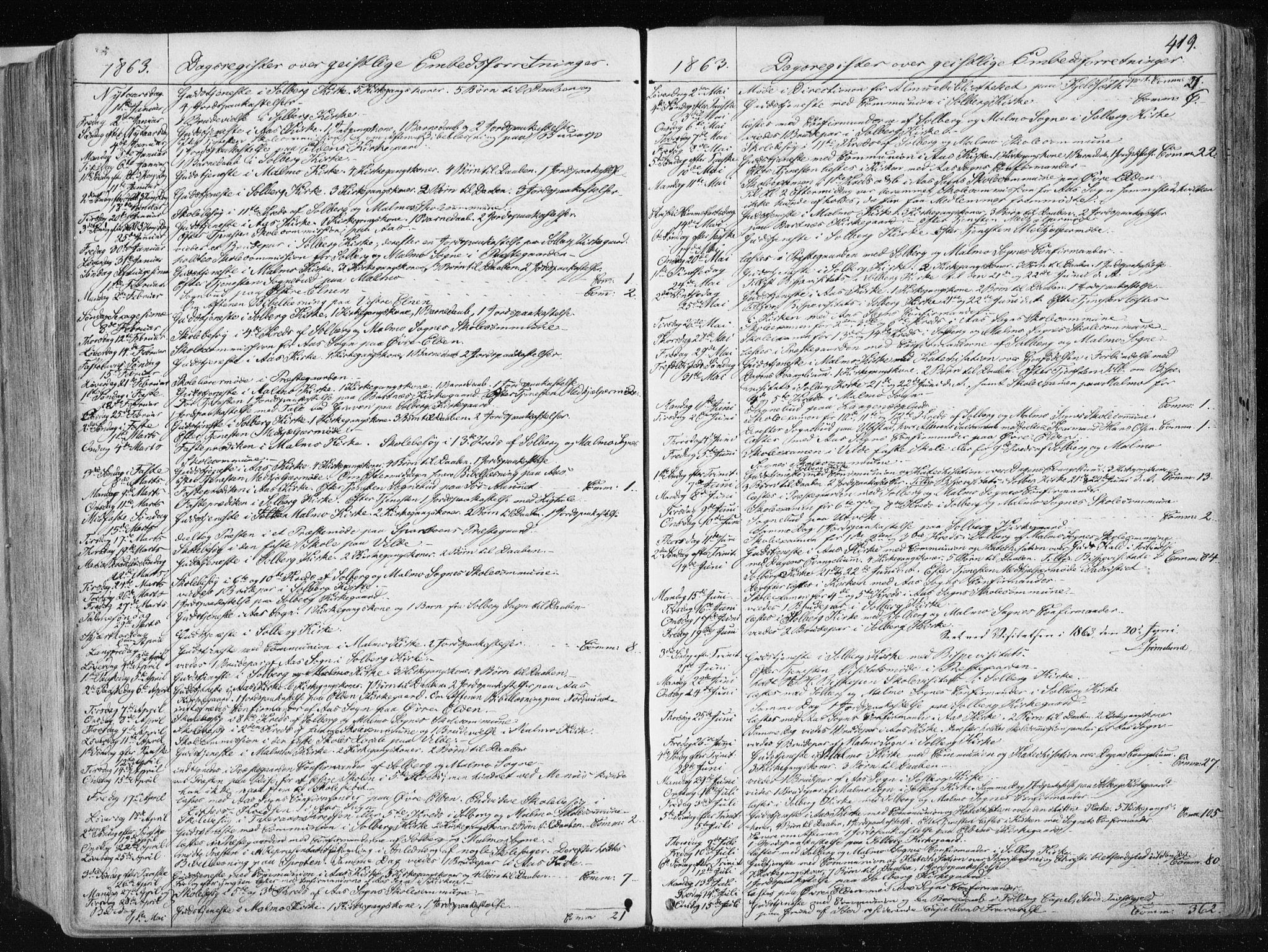 SAT, Ministerialprotokoller, klokkerbøker og fødselsregistre - Nord-Trøndelag, 741/L0393: Ministerialbok nr. 741A07, 1849-1863, s. 419
