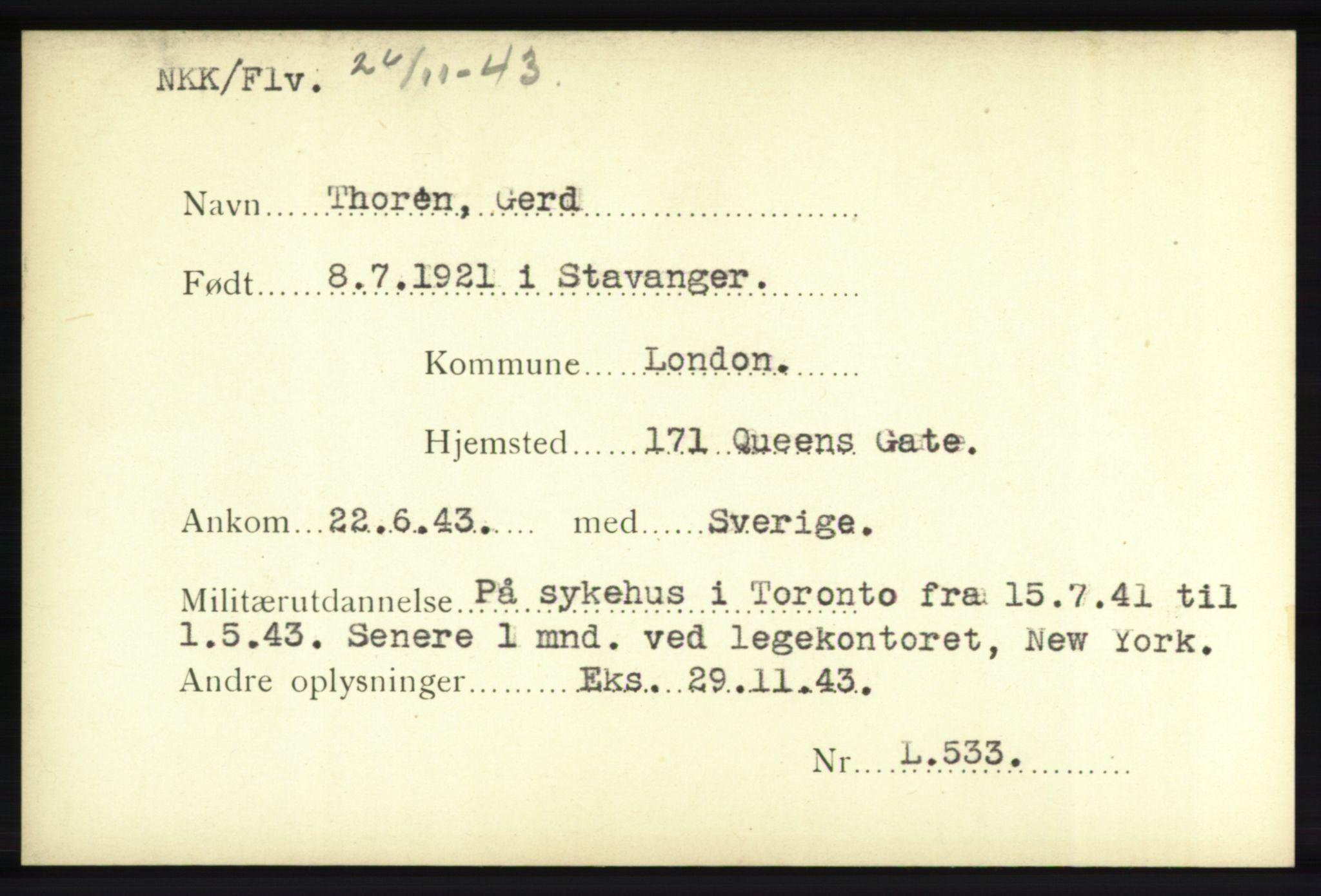 NHM, Forsvarets Overkommando. 2. kontor. Arkiv 8.1. Mottakersentralen FDE og FO.II, P/Pa/L0020: Kortsamling, 1940-1945
