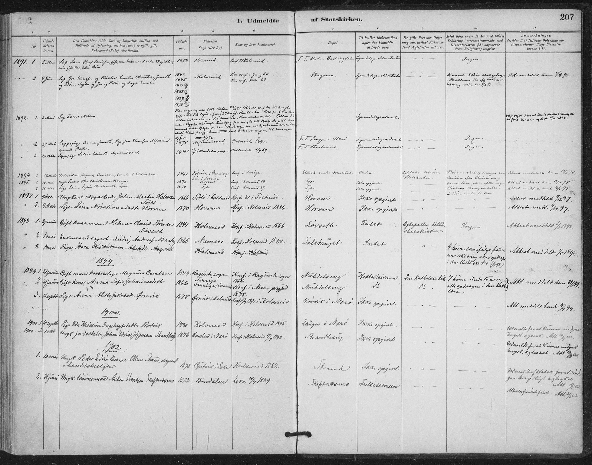 SAT, Ministerialprotokoller, klokkerbøker og fødselsregistre - Nord-Trøndelag, 780/L0644: Ministerialbok nr. 780A08, 1886-1903, s. 207