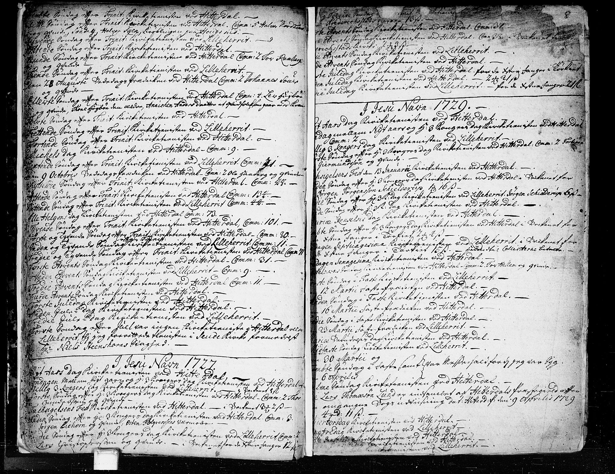 SAKO, Heddal kirkebøker, F/Fa/L0003: Ministerialbok nr. I 3, 1723-1783, s. 8