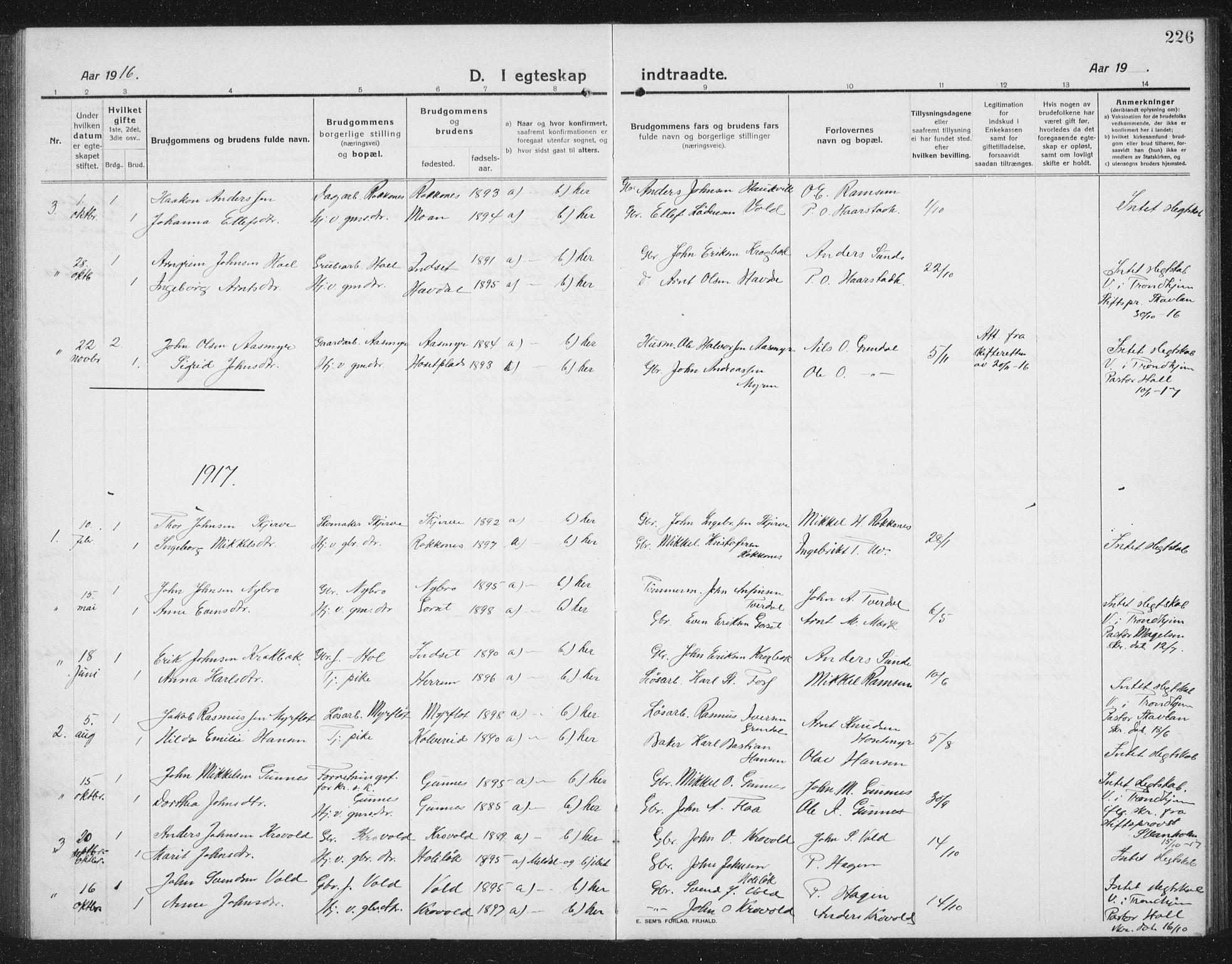 SAT, Ministerialprotokoller, klokkerbøker og fødselsregistre - Sør-Trøndelag, 674/L0877: Klokkerbok nr. 674C04, 1913-1940, s. 226